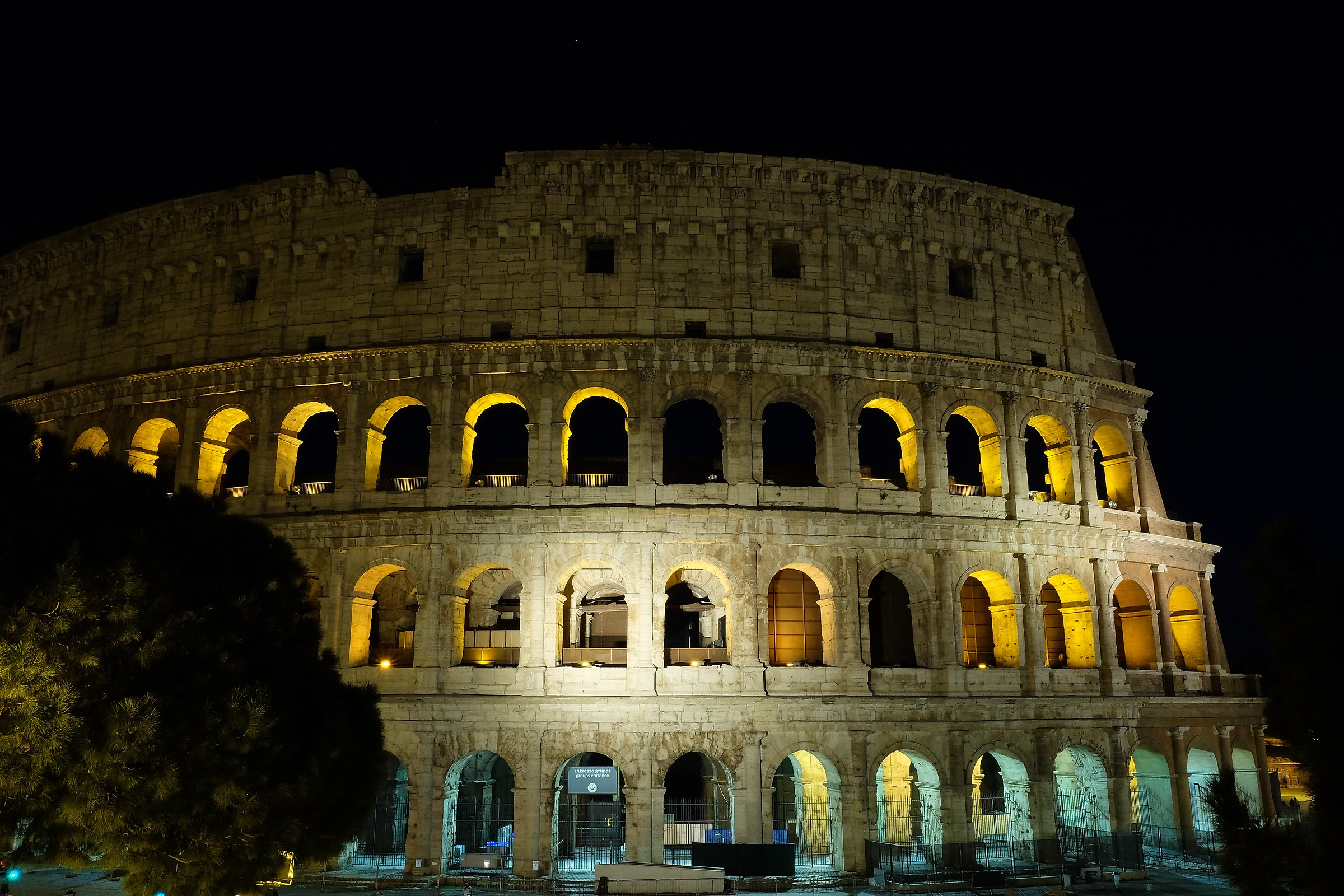 The light of the night over the Colosseum...