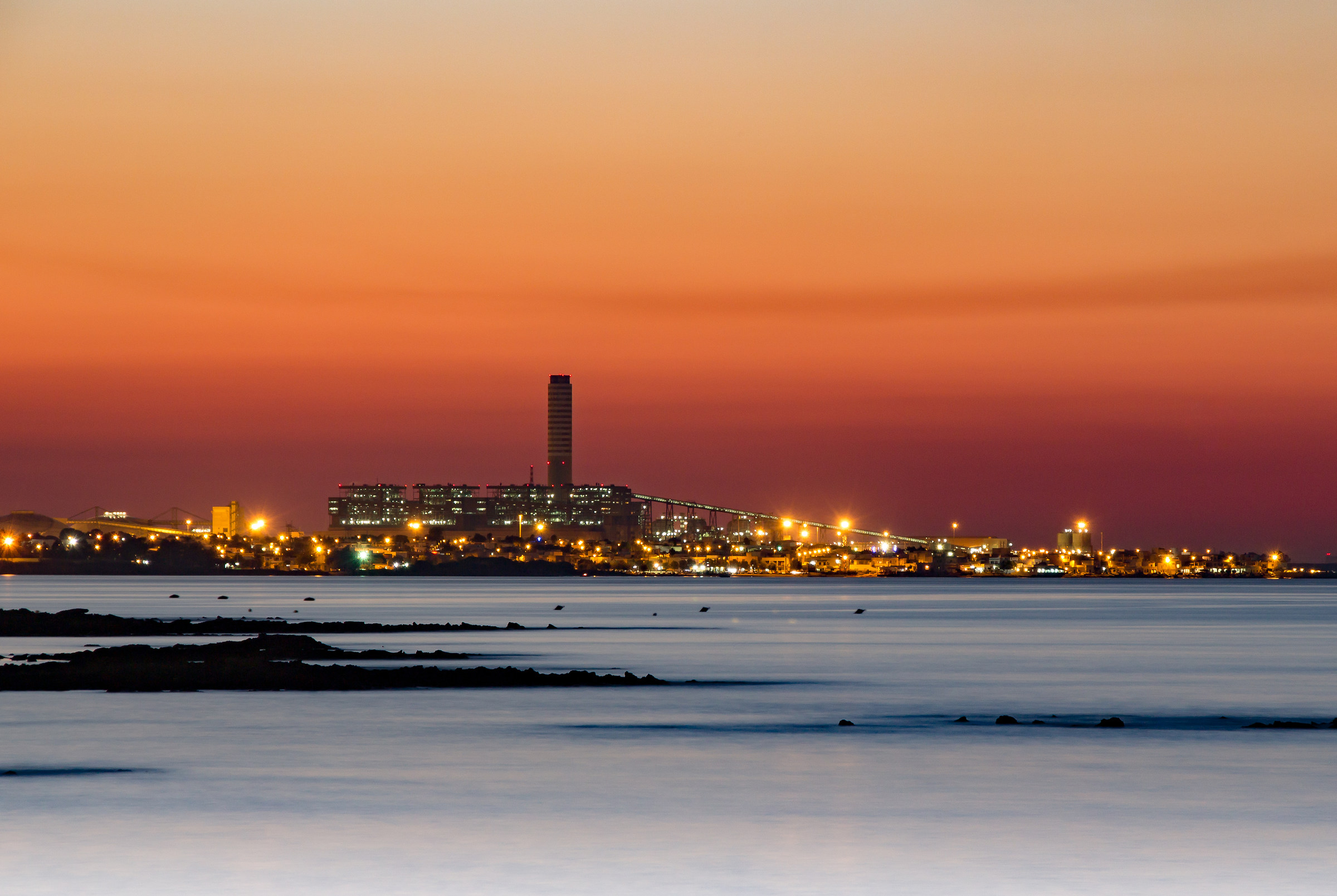 power station in Brindisi view from Casalabate...
