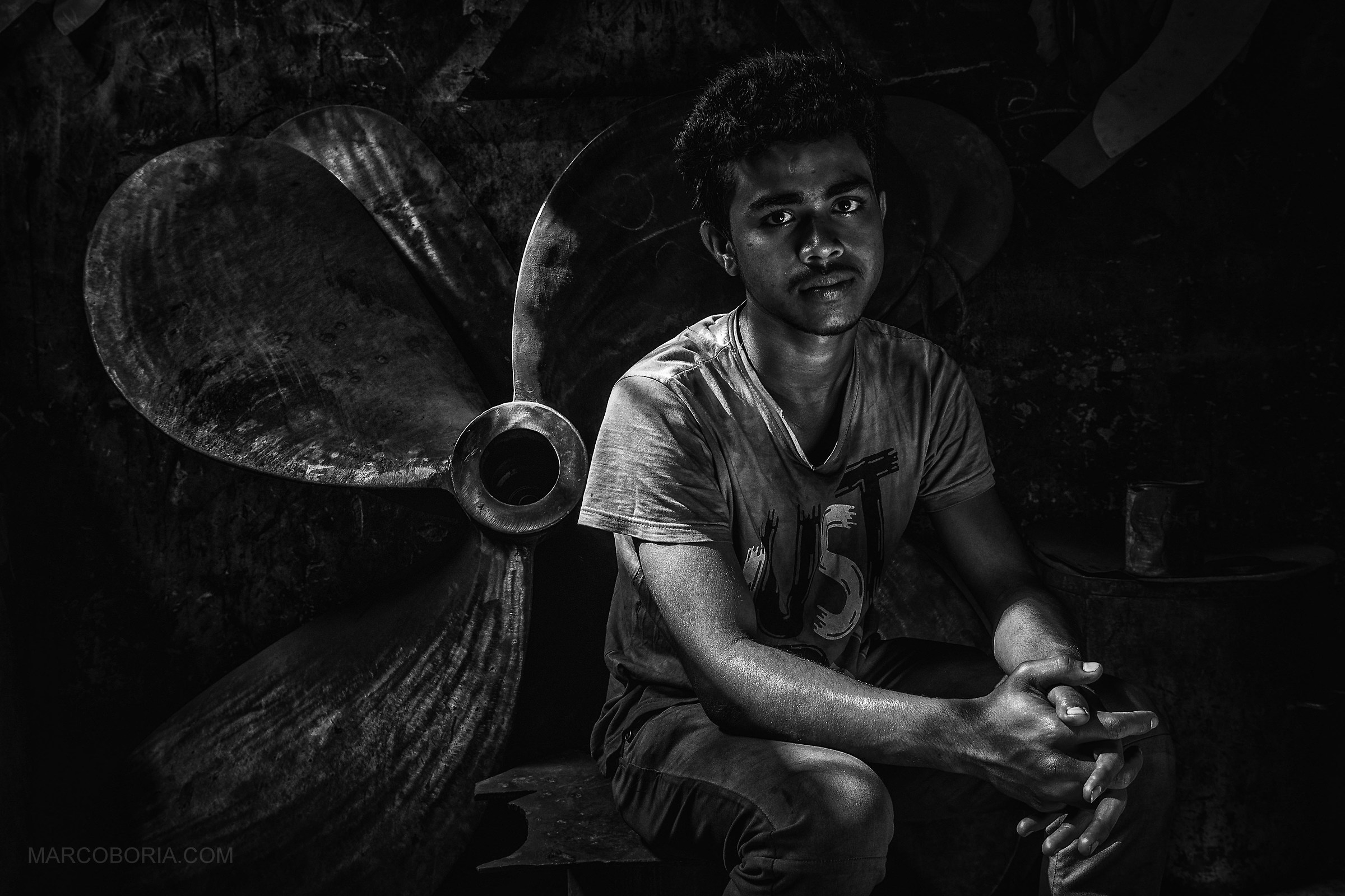 portrait of young worker...