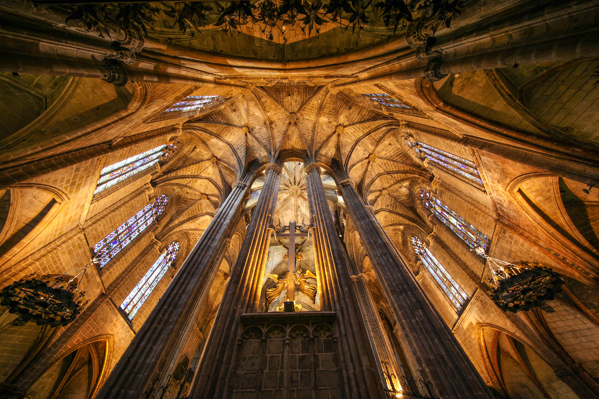 Looking up (Cathedral of Barcelona Spain)...