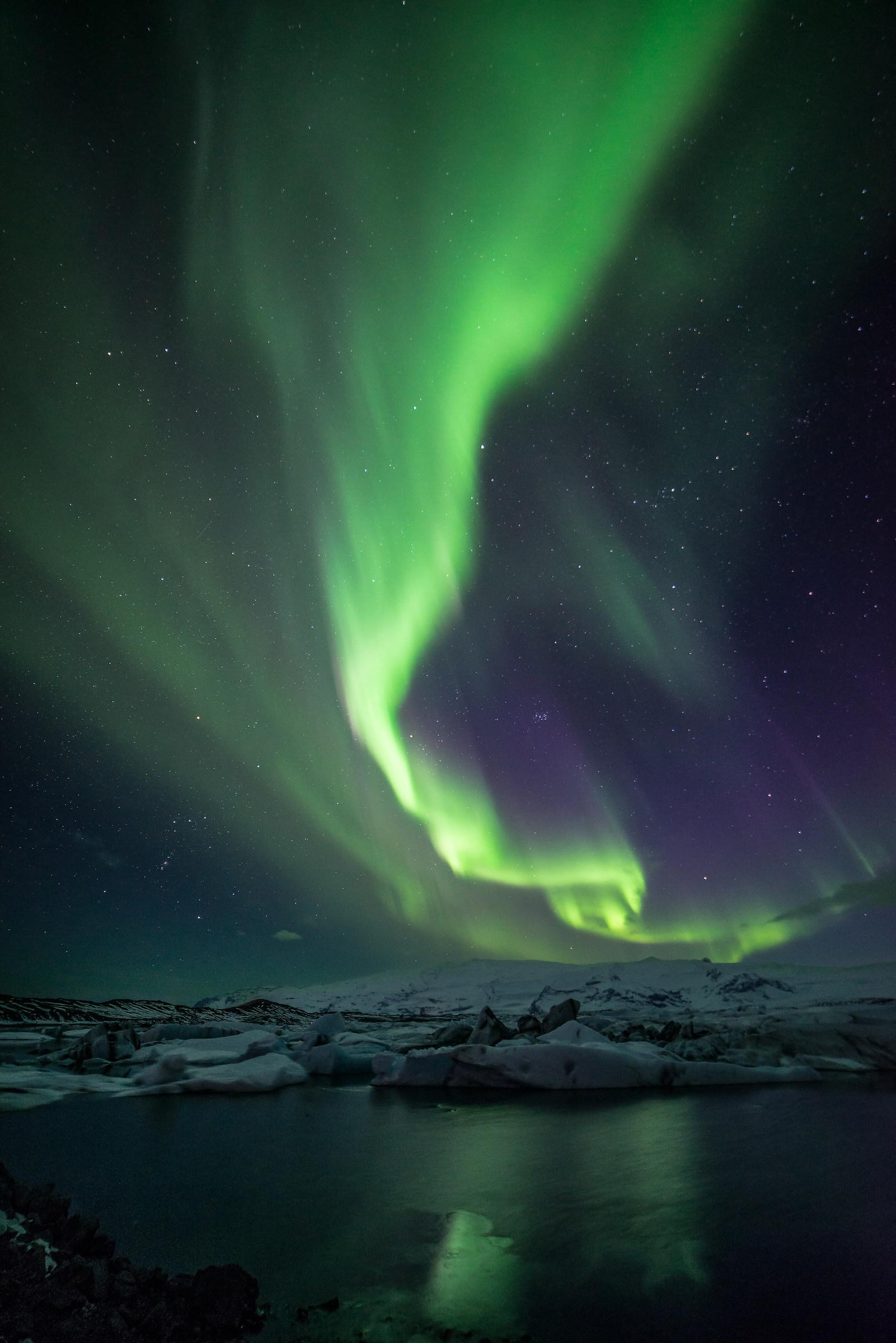 aurora at Jökulsárlón...