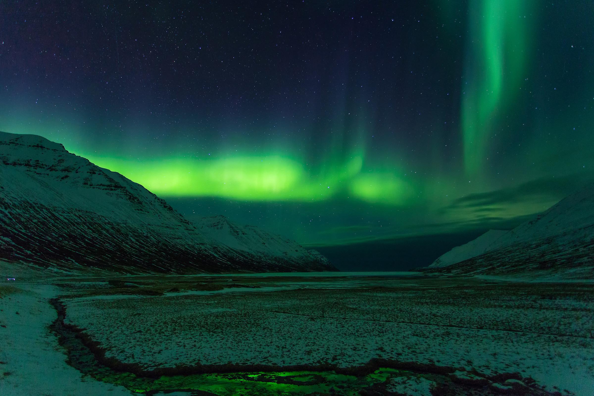 Aurora to Ólafsfjörður...