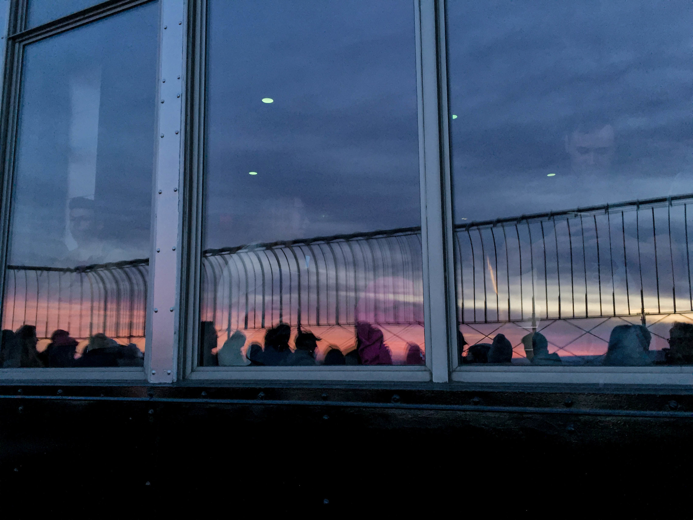Empire State Building terrace, sunset...