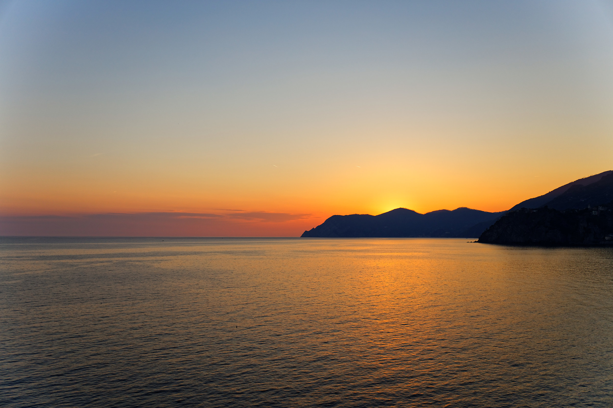 Sunset over the Cinque Terre...