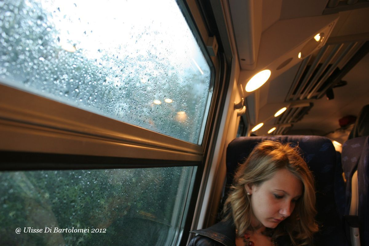 Reading in the train stopped for rain...