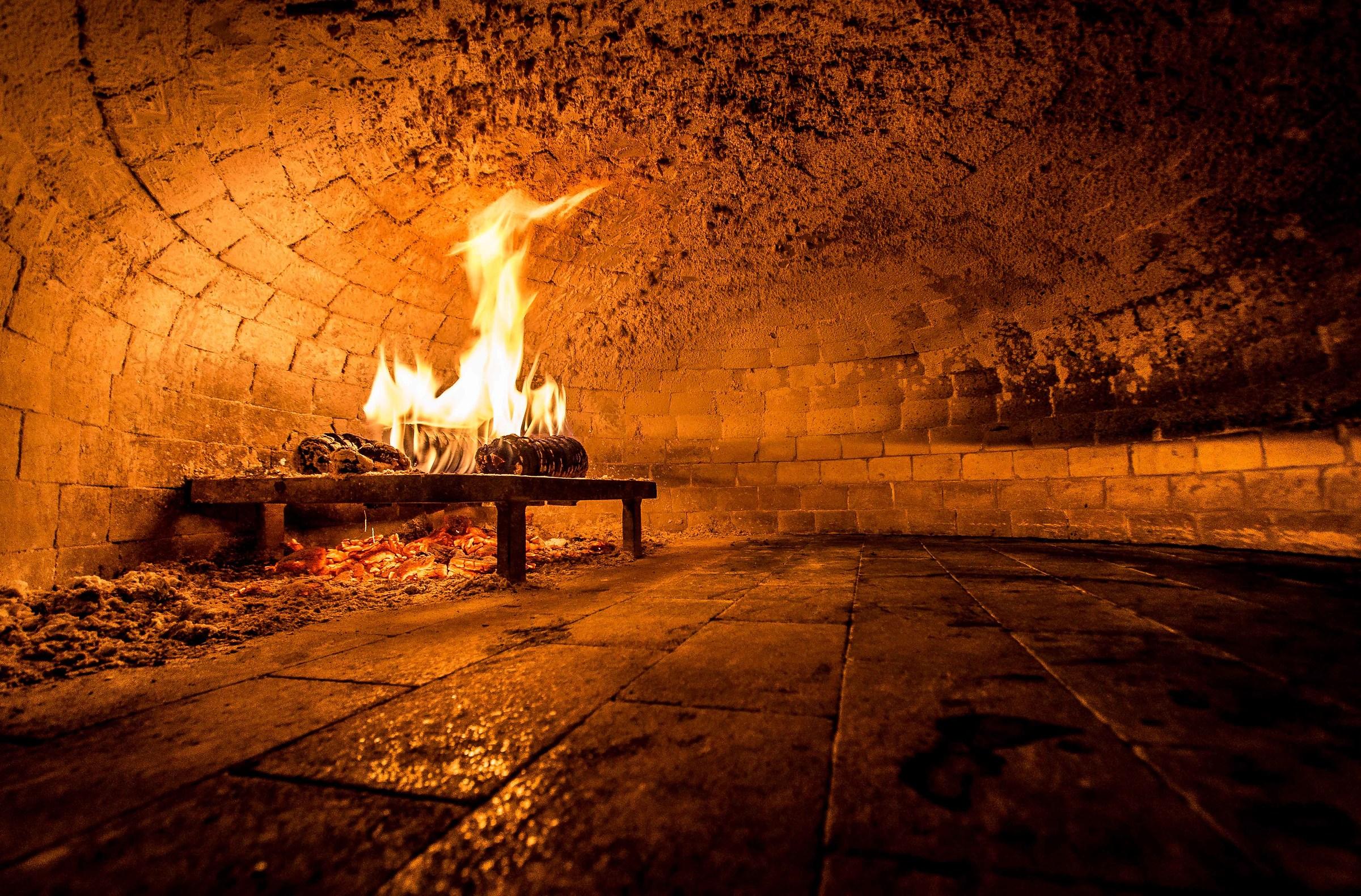 wood oven...