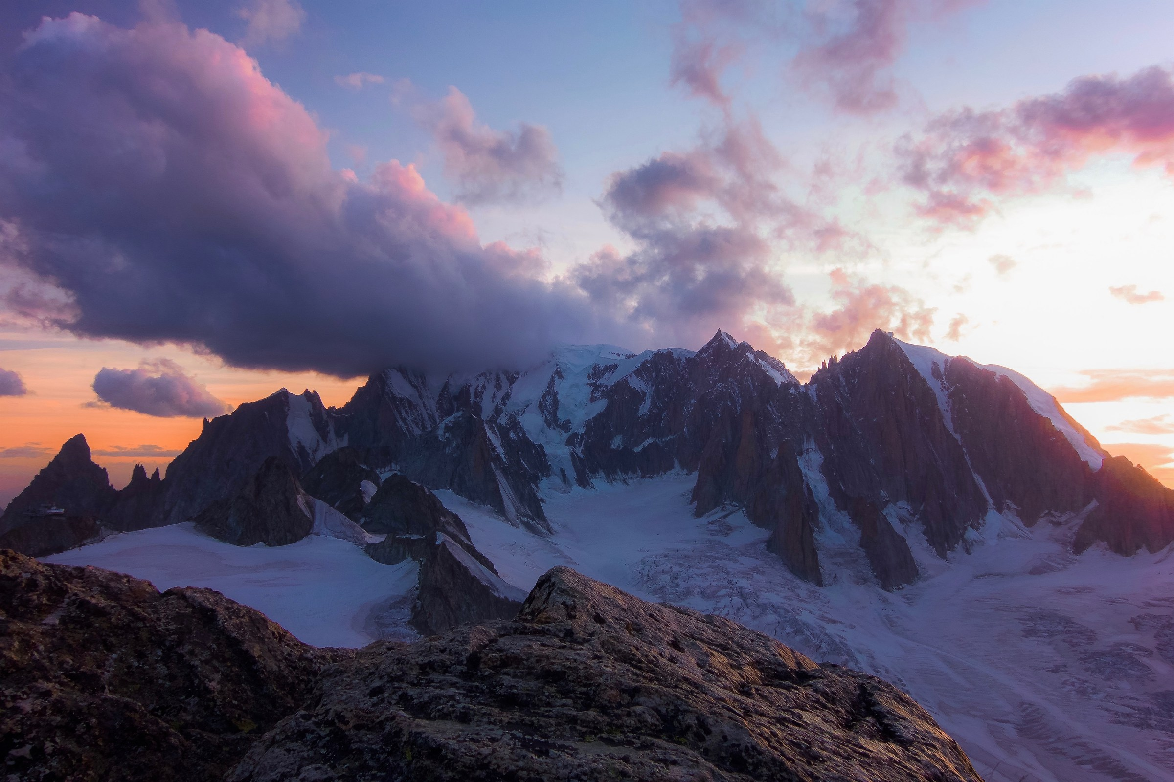 Sunset over Mont Blanc. Seen from...