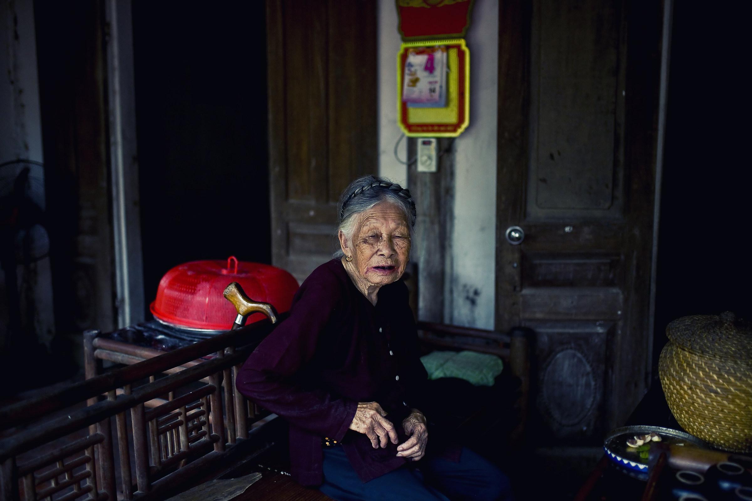 Grandma Taking Betel Drugs On Her Old Wooden Sofa...