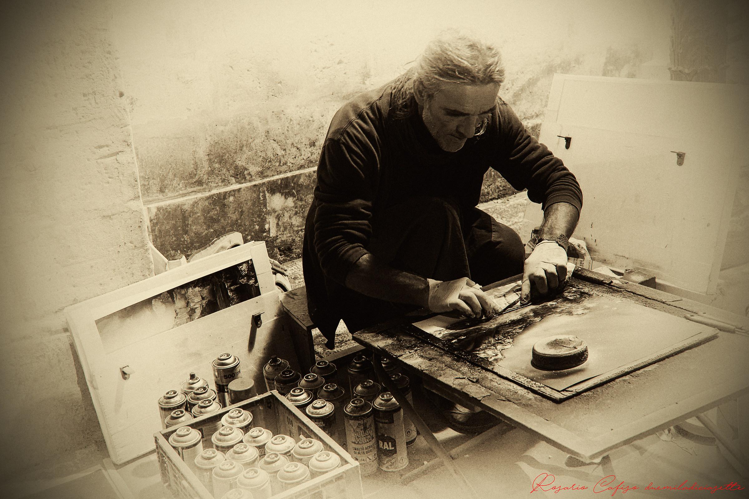 The street artist...