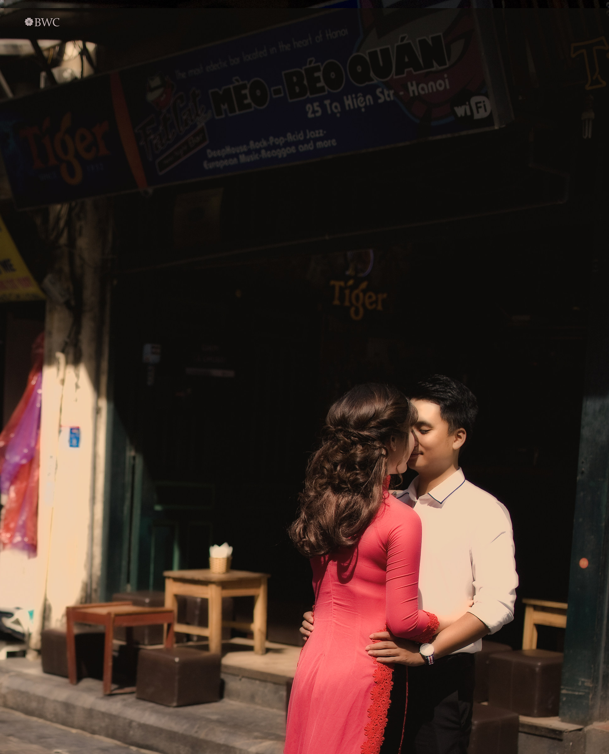 Couple Kissing On The Old Street Of Hanoi...