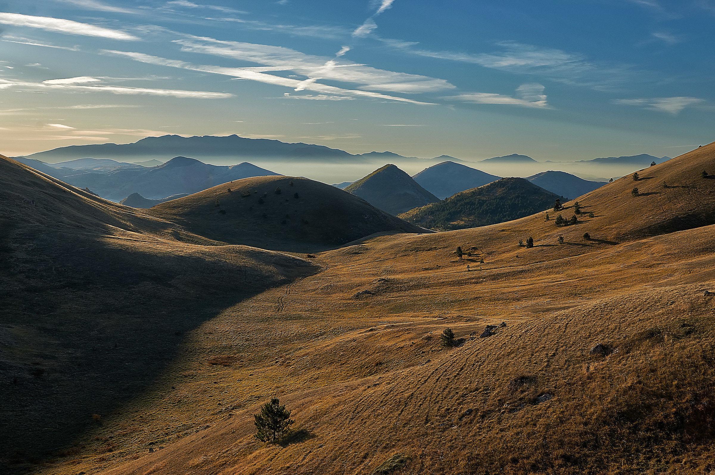 Endless hills at dawn...