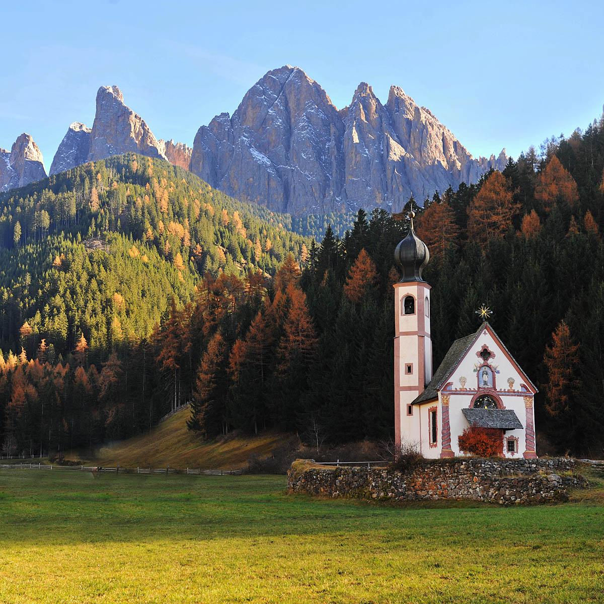 Church of St. John in Ranui in Val di Funes...