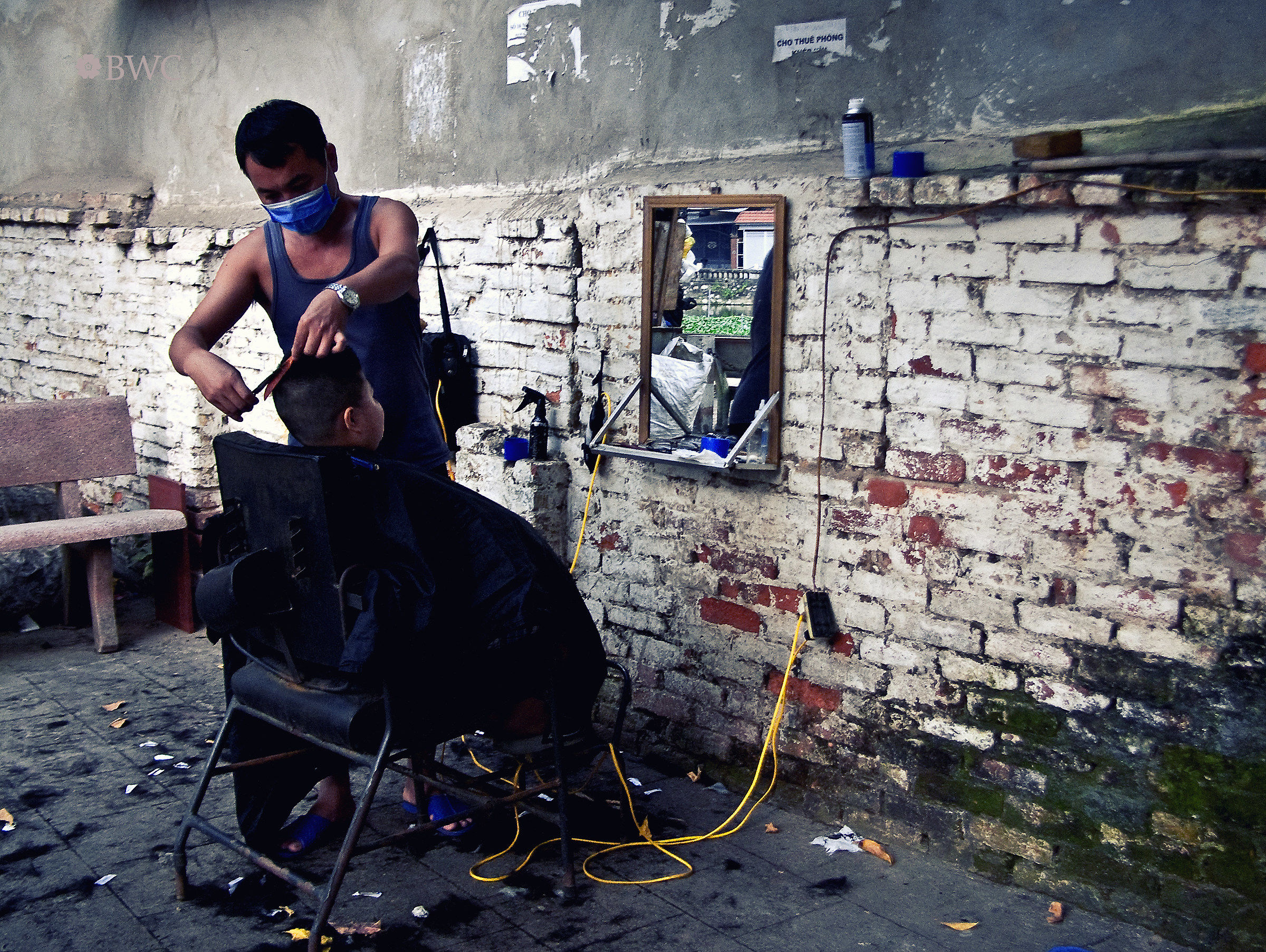 A Portable Barber Shop On The Sidewalk...