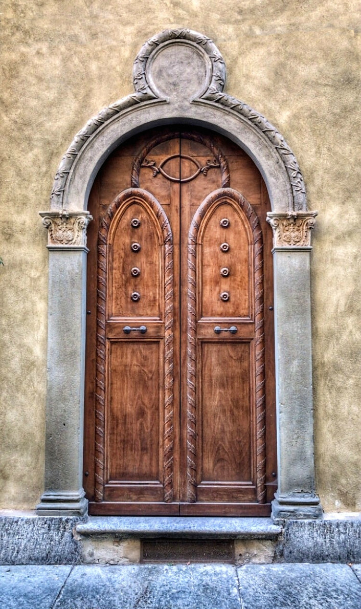 Entrance door of the Synagogue of Cuneo...
