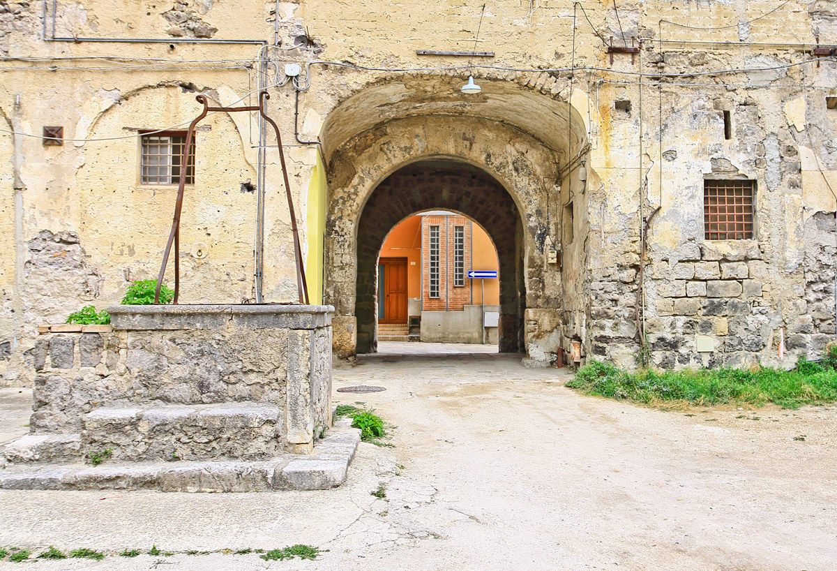 Entrance to the Baroque Palazzo Carafa (internal view)...
