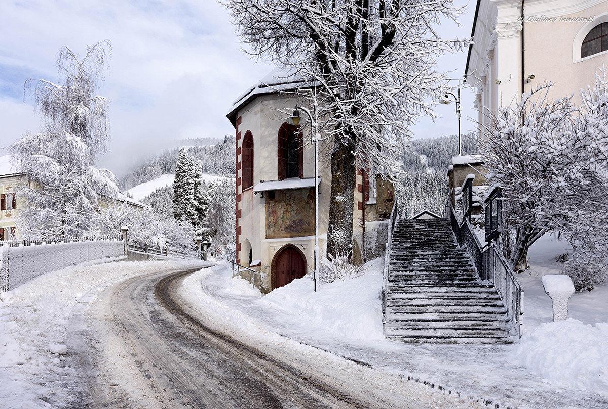 The staircase to the church of Santo Stefano-Villabassa...