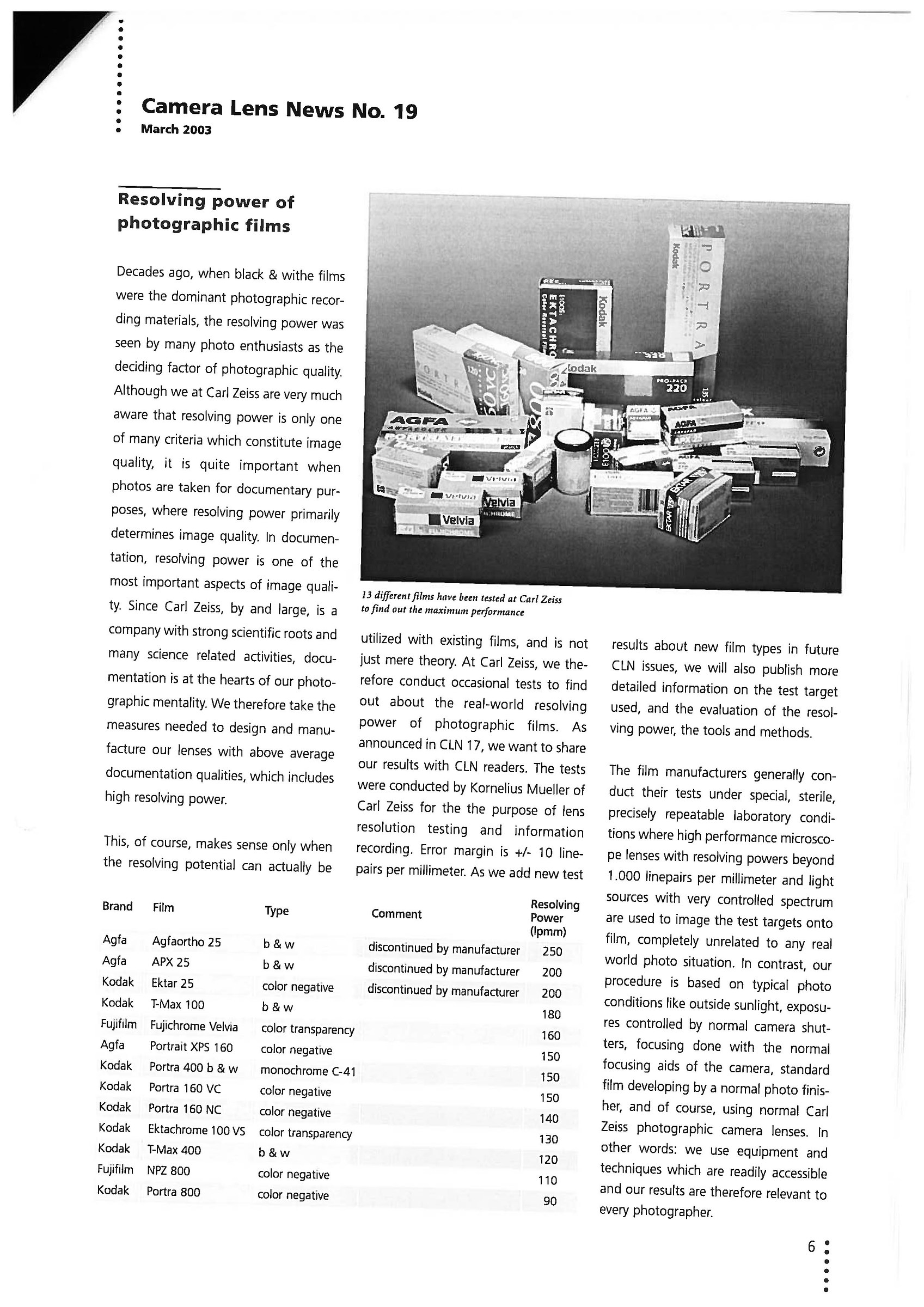 Zeiss Camera Lens News n. 19 - Marzo 2003...