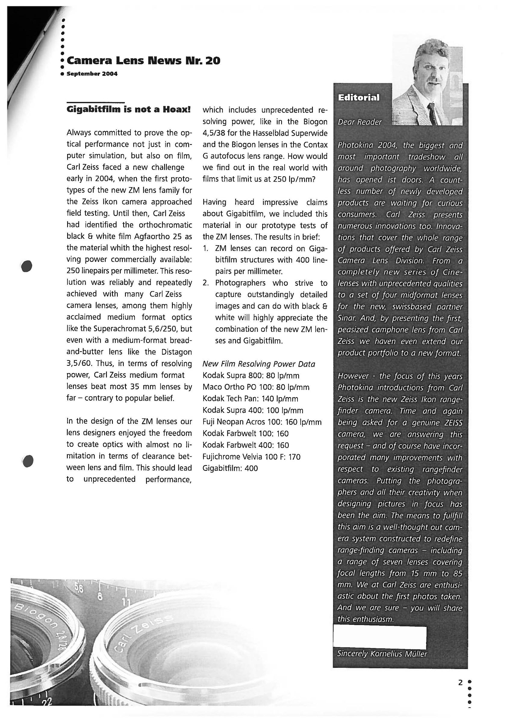 Zeiss Camera Lens News n. 20 - Settembre 2004...