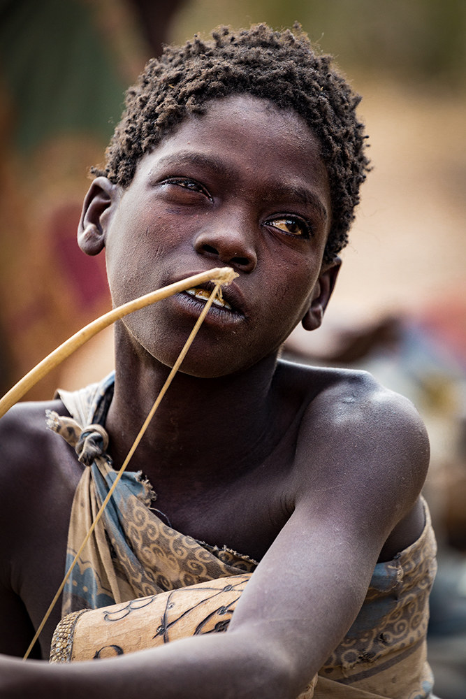 Incredible meeting Hadza: portrait of a boy....