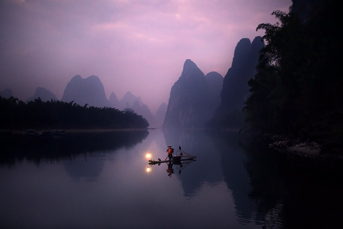 Sunrise on the Li river, China...