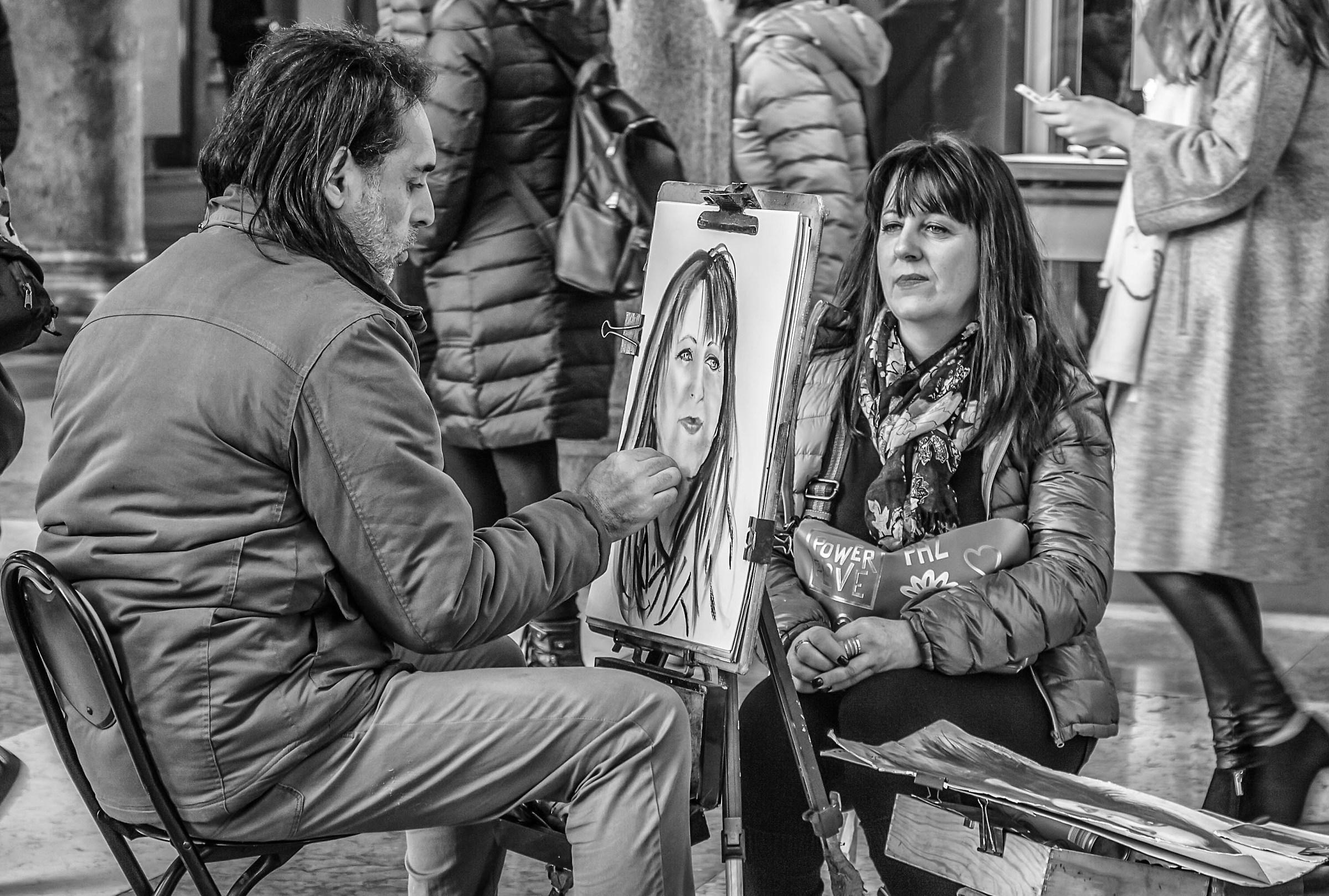 The portrait artist...