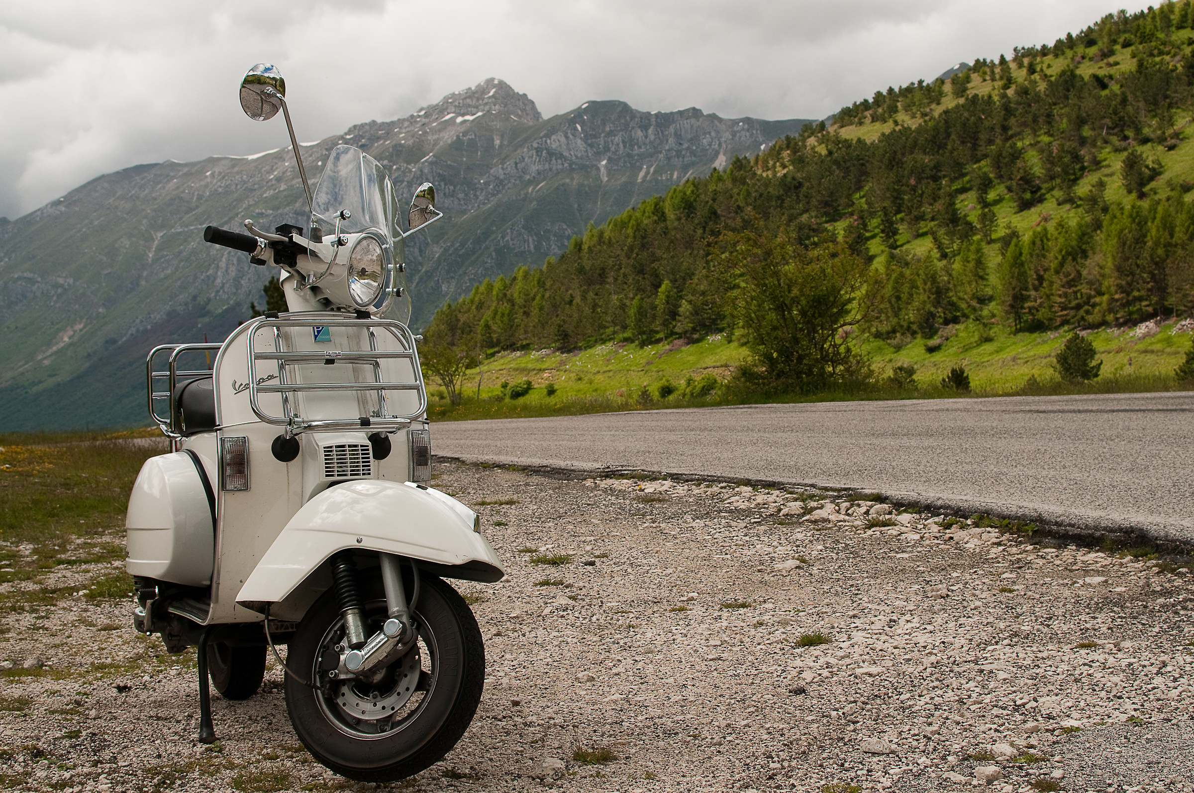 In vespa on the road...