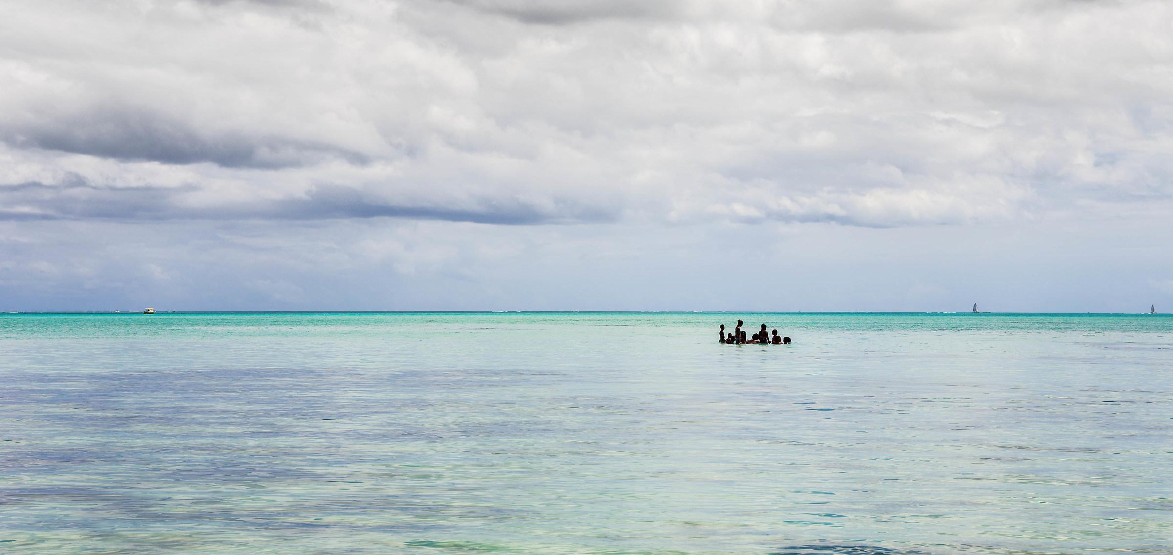 bathers in the salt lagoon...