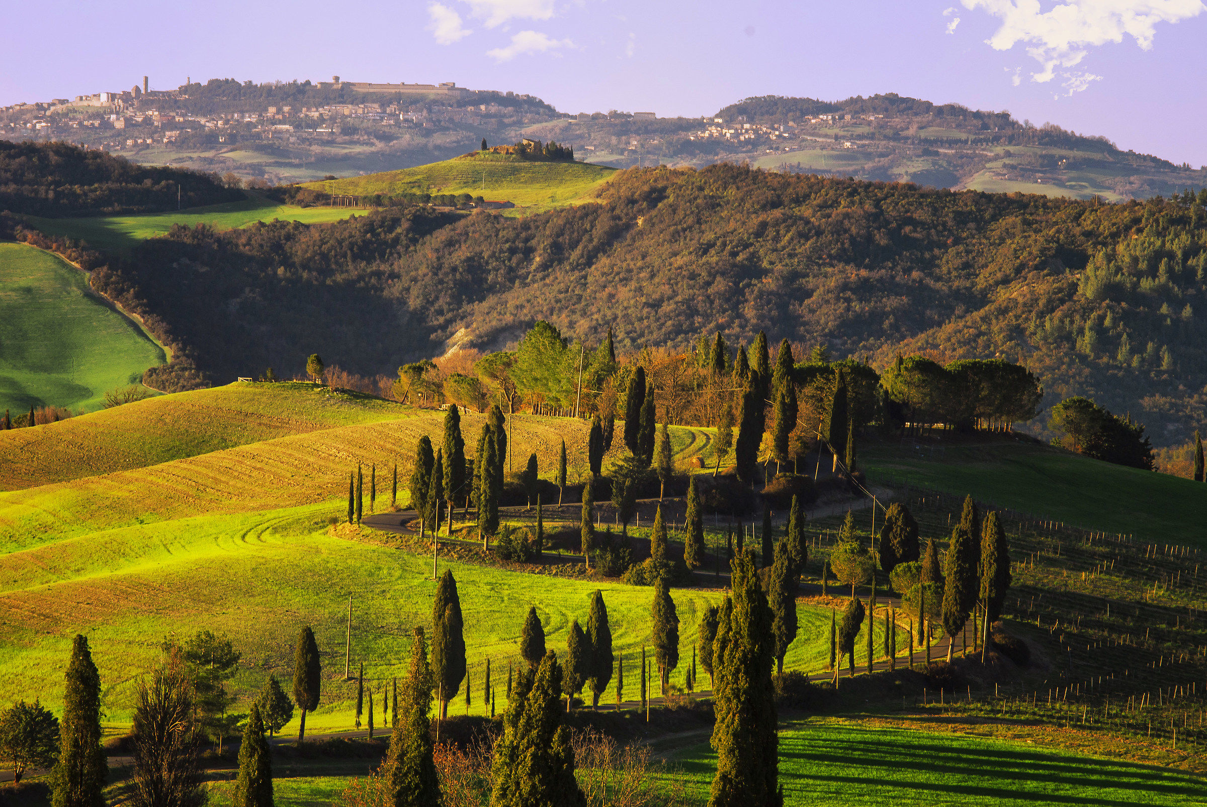 Tuscan landscape that slopes towards Volterra...