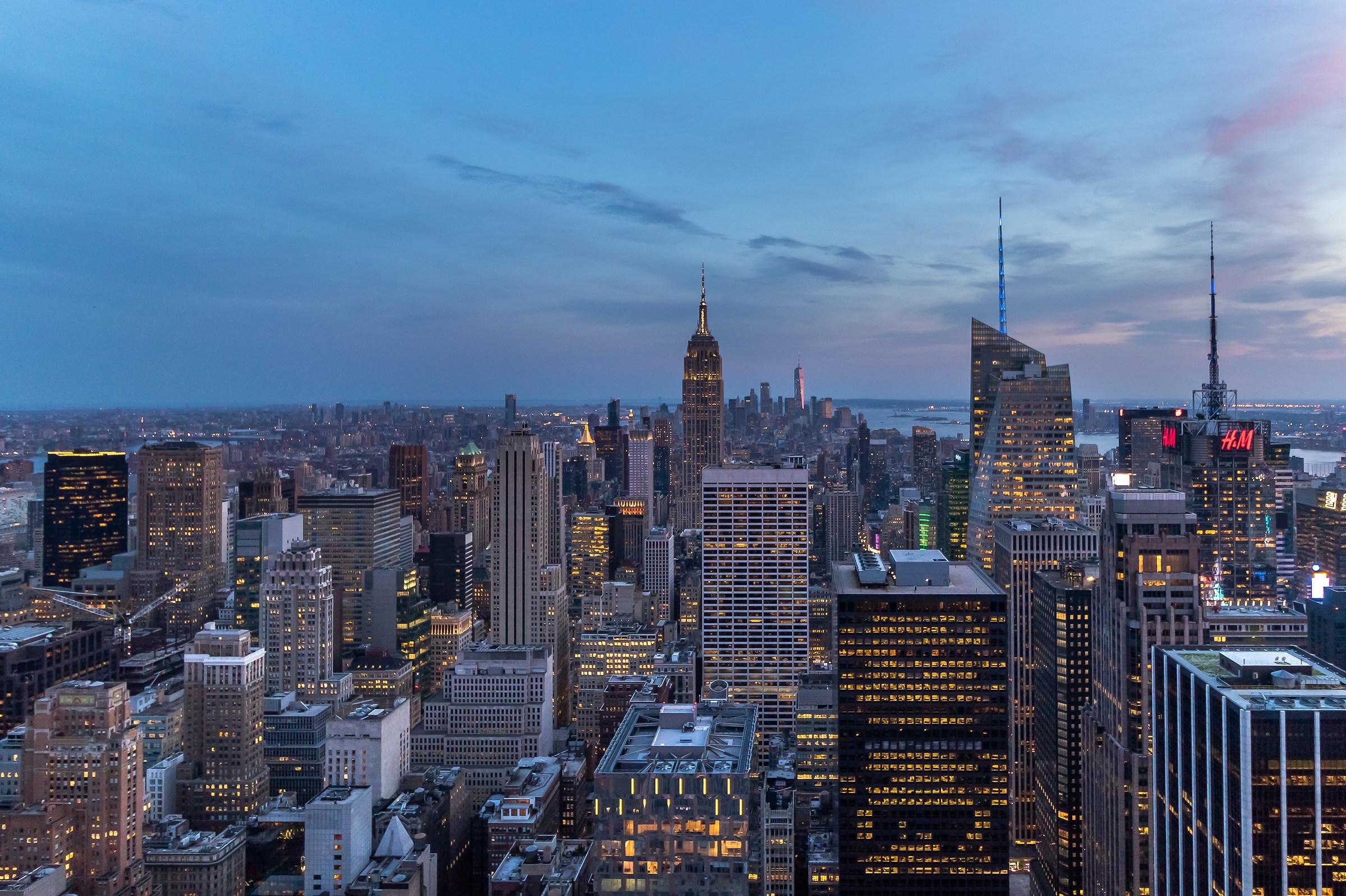 First lights in Manhattan...