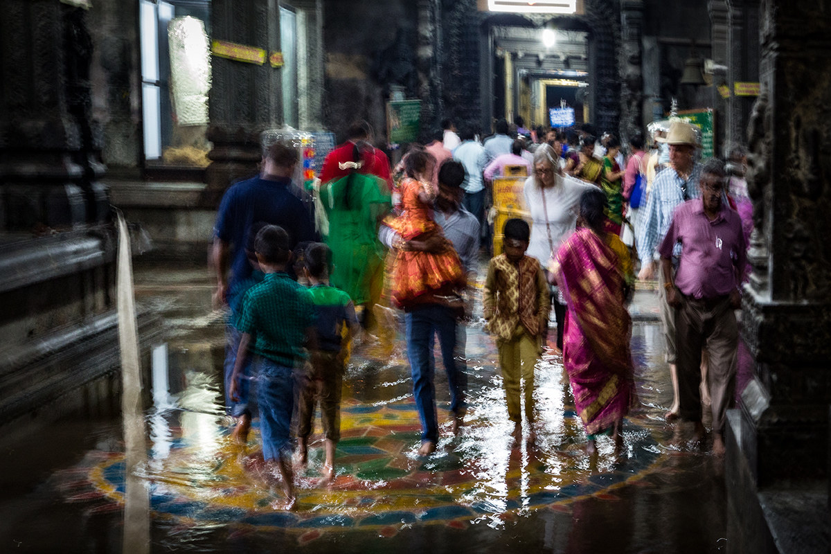 Walk on the water to the Indian temple....