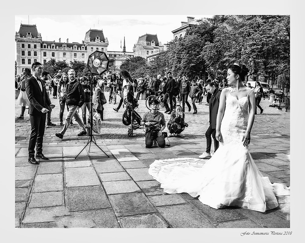 A bride at Notre Dame de Paris...
