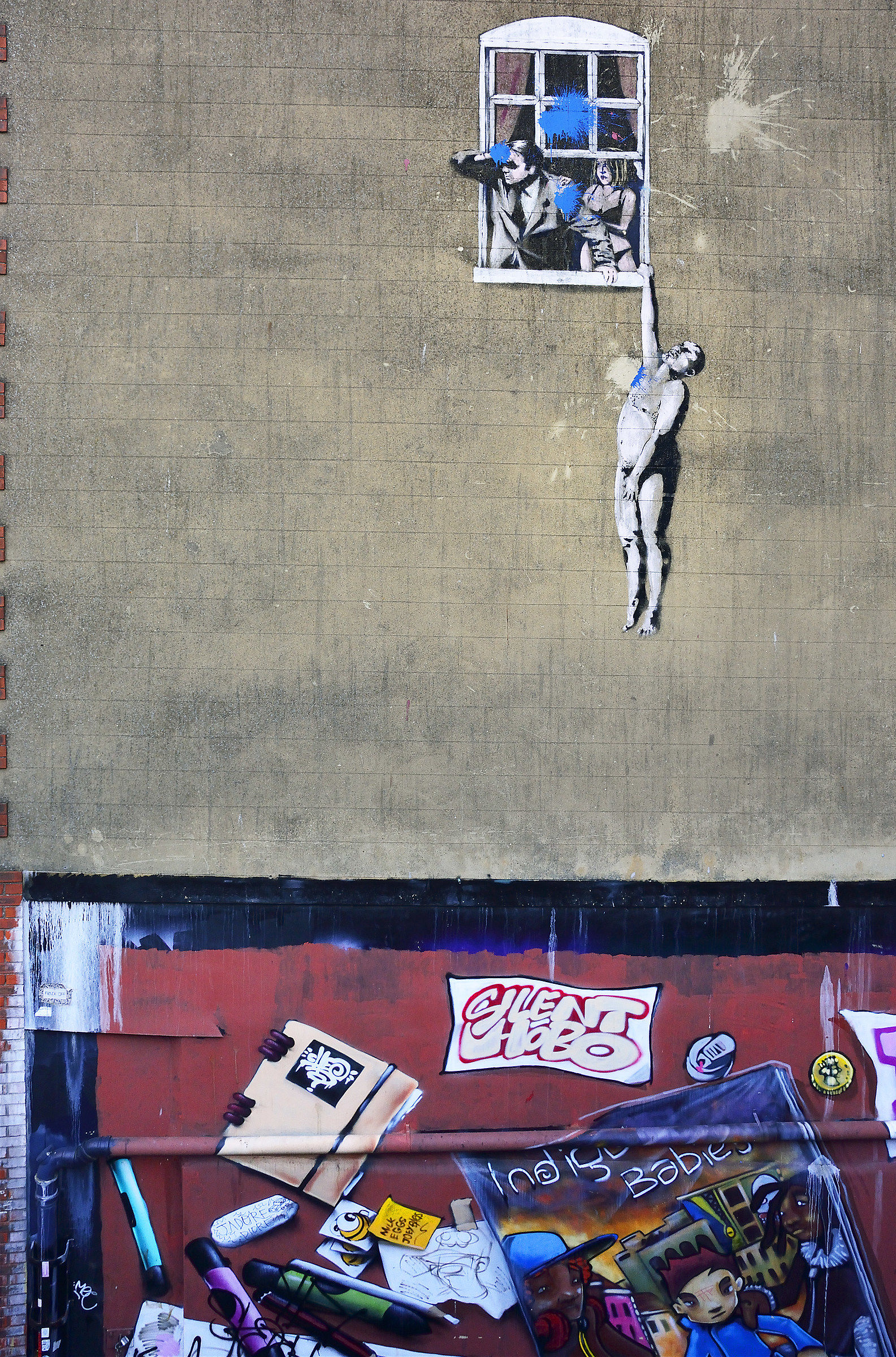 Famous Banksy: 'Well Hung Lover'...