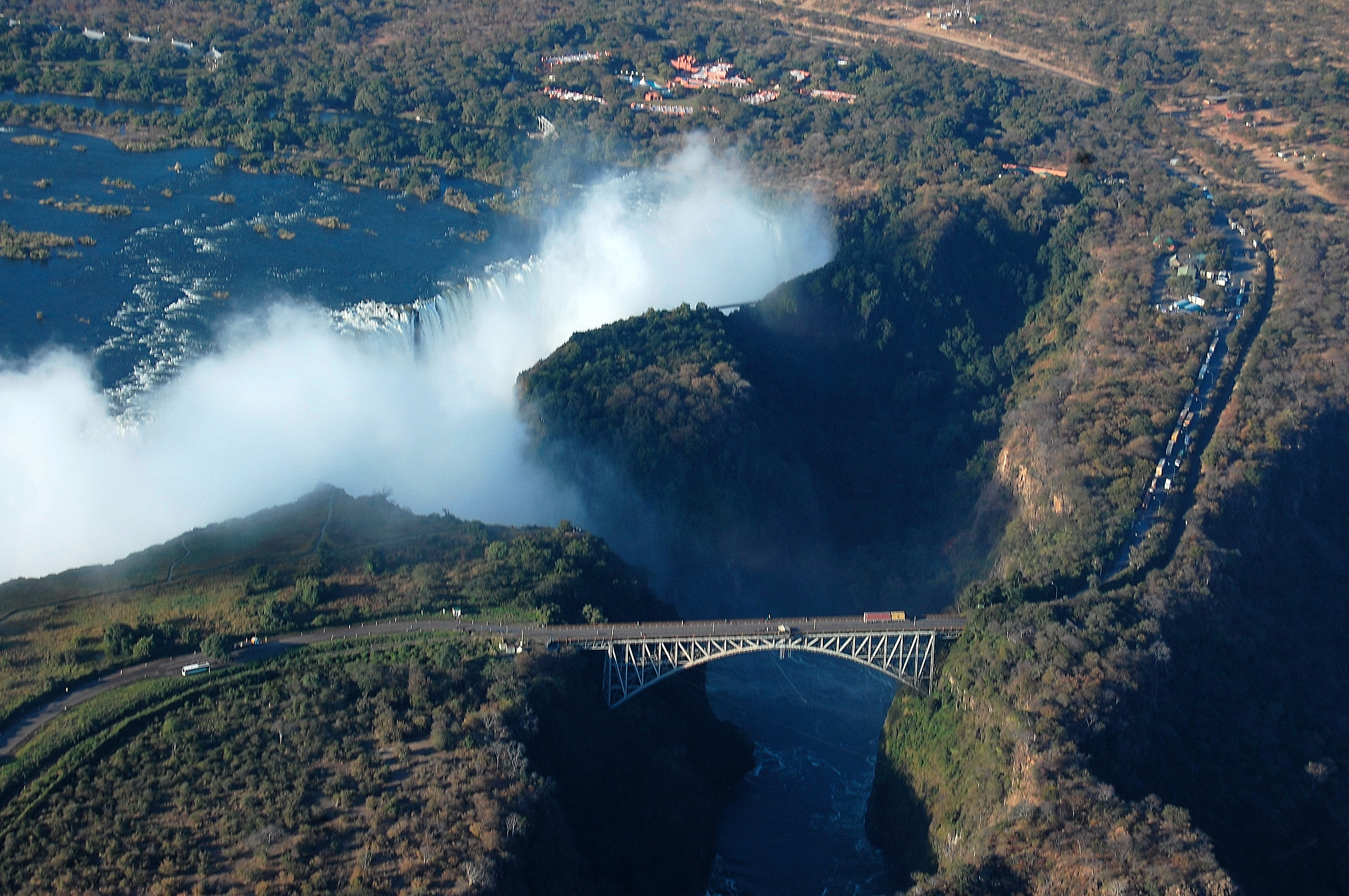 Victoria Falls Bridge between Zimbabwe and Zambia...
