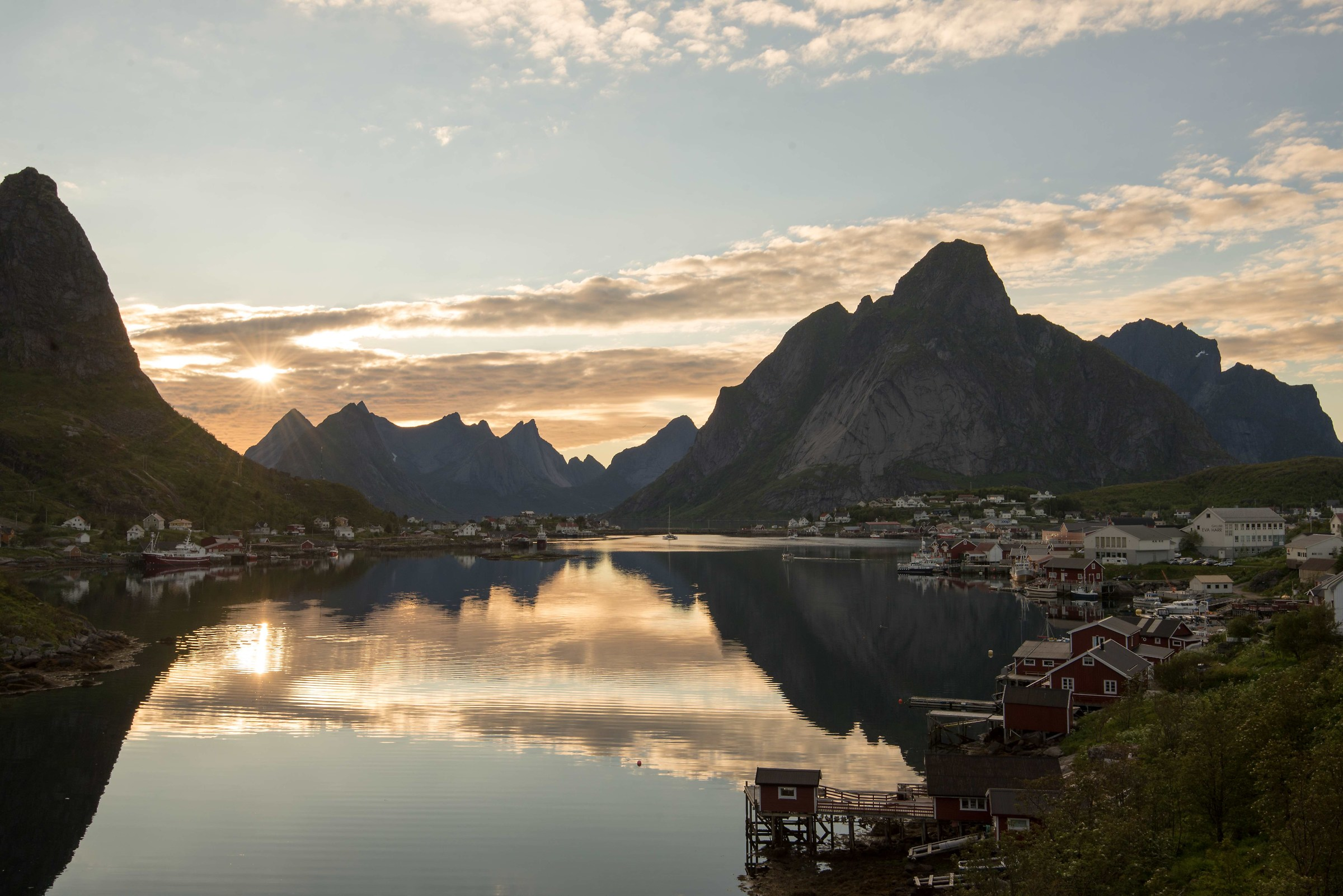 Reine, the pearl of Lofoten, just before midnight...