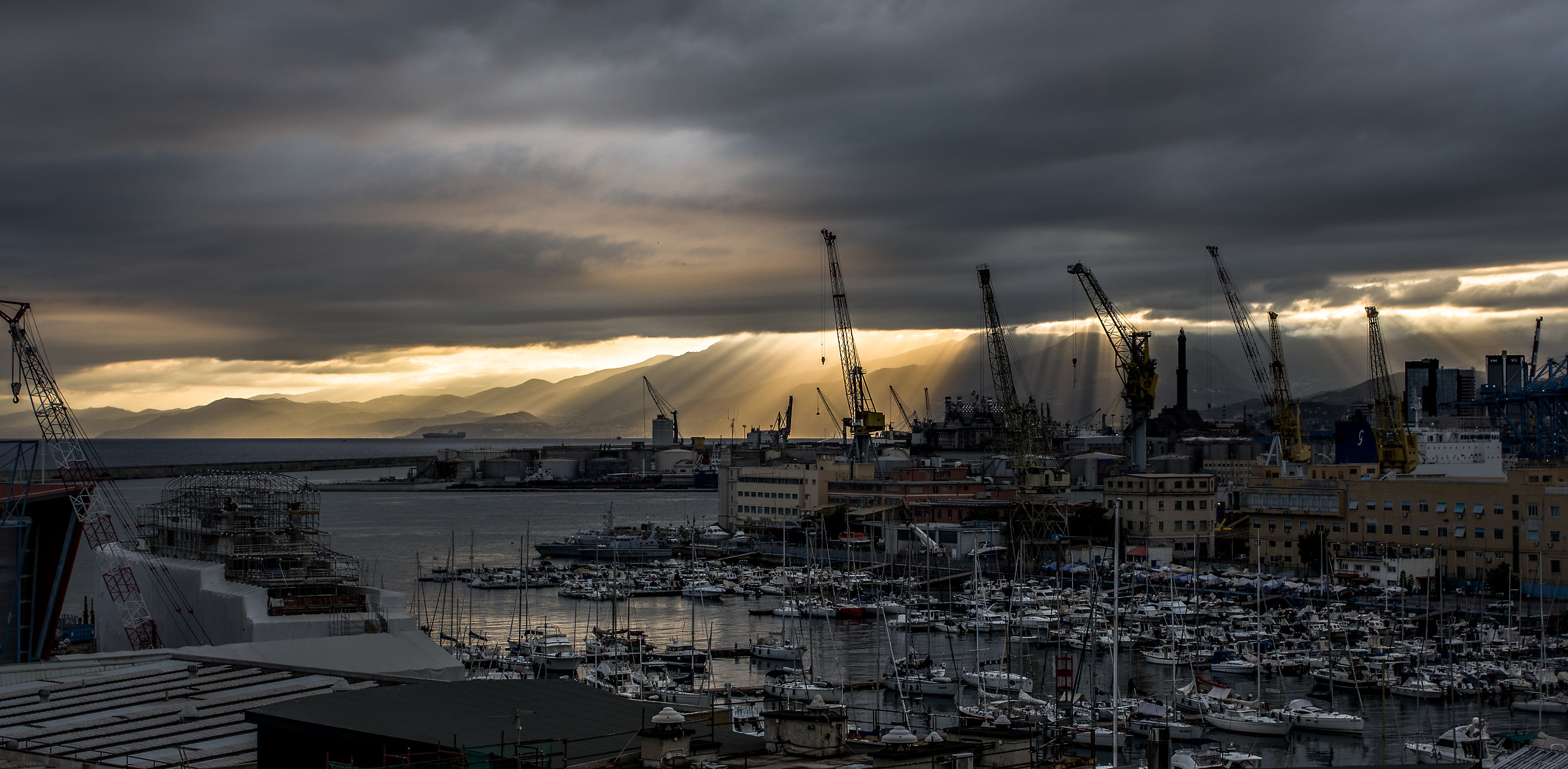 Rays of sunshine on the port of Genoa...