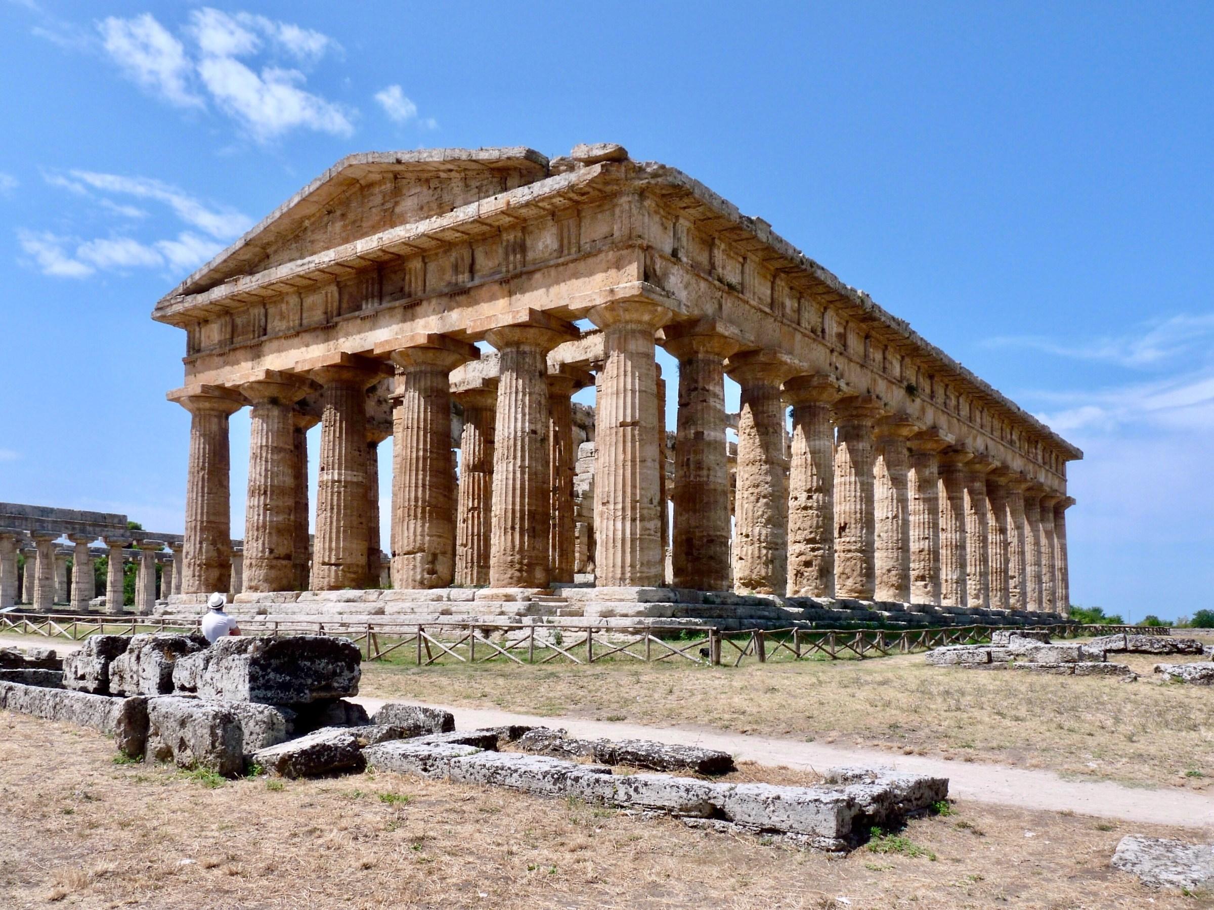 Paestum. Admiring the temple of Neptune. ...