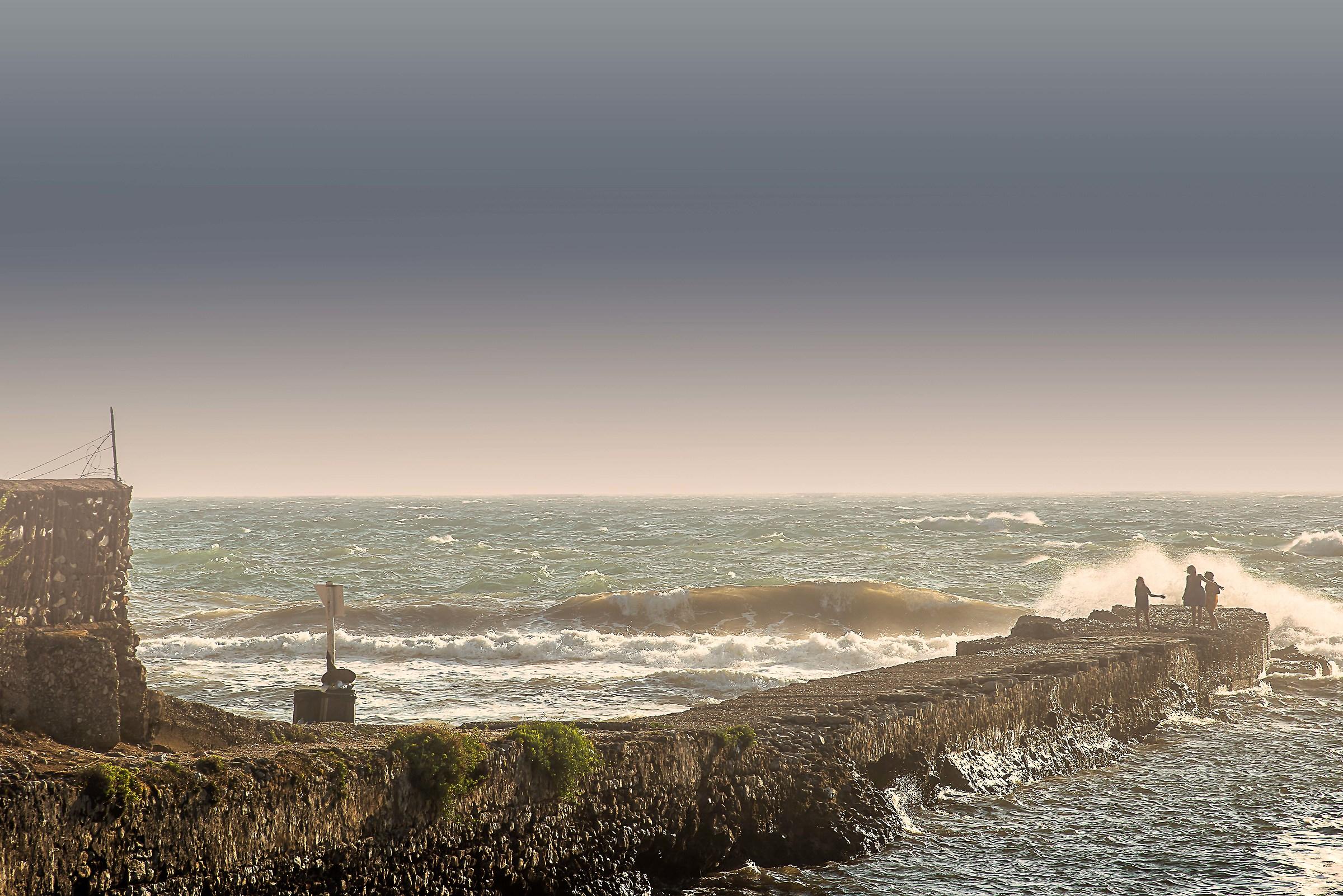 The coastline...