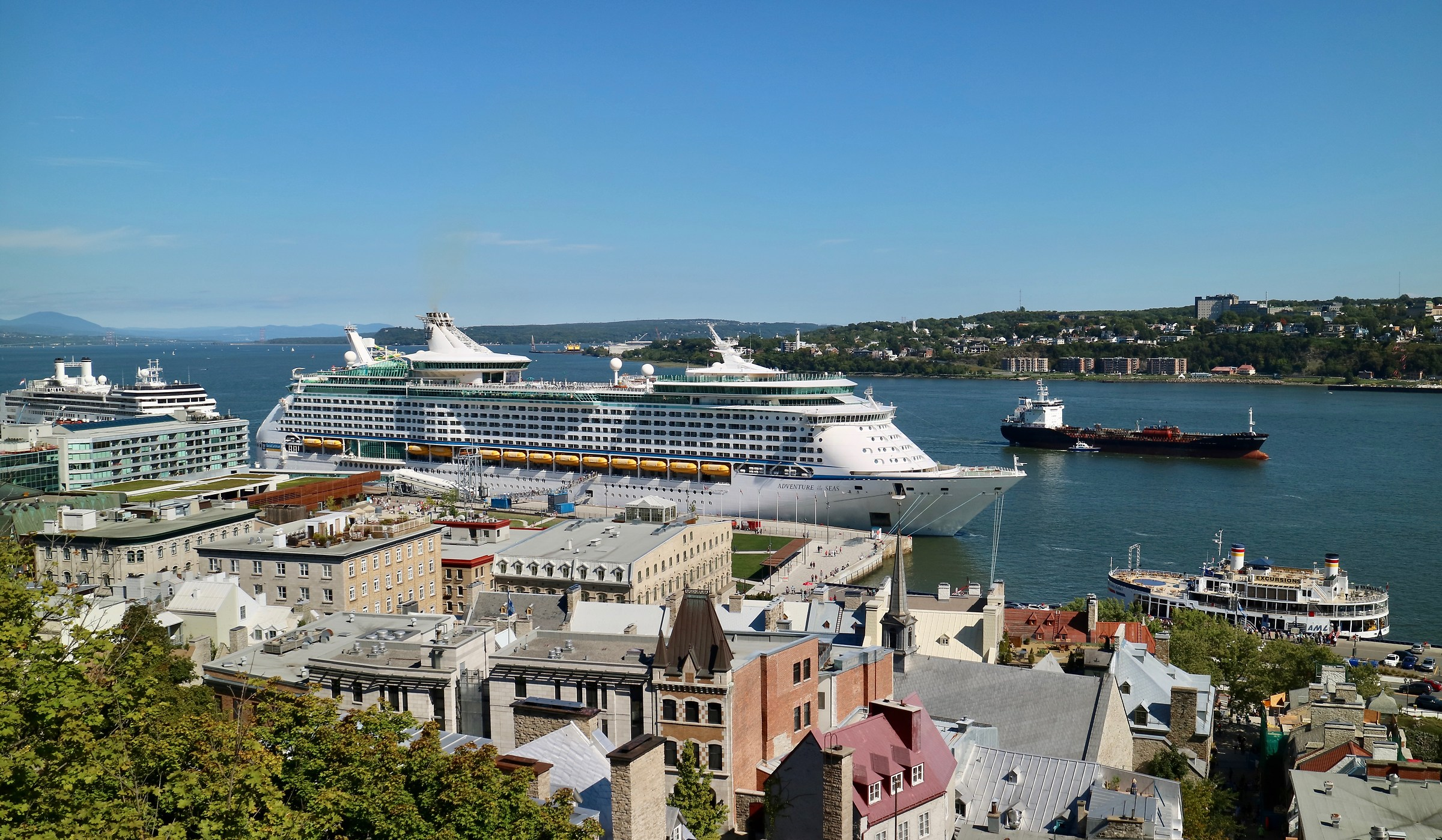 Many cruise ships bring visitors to Quebec City .....