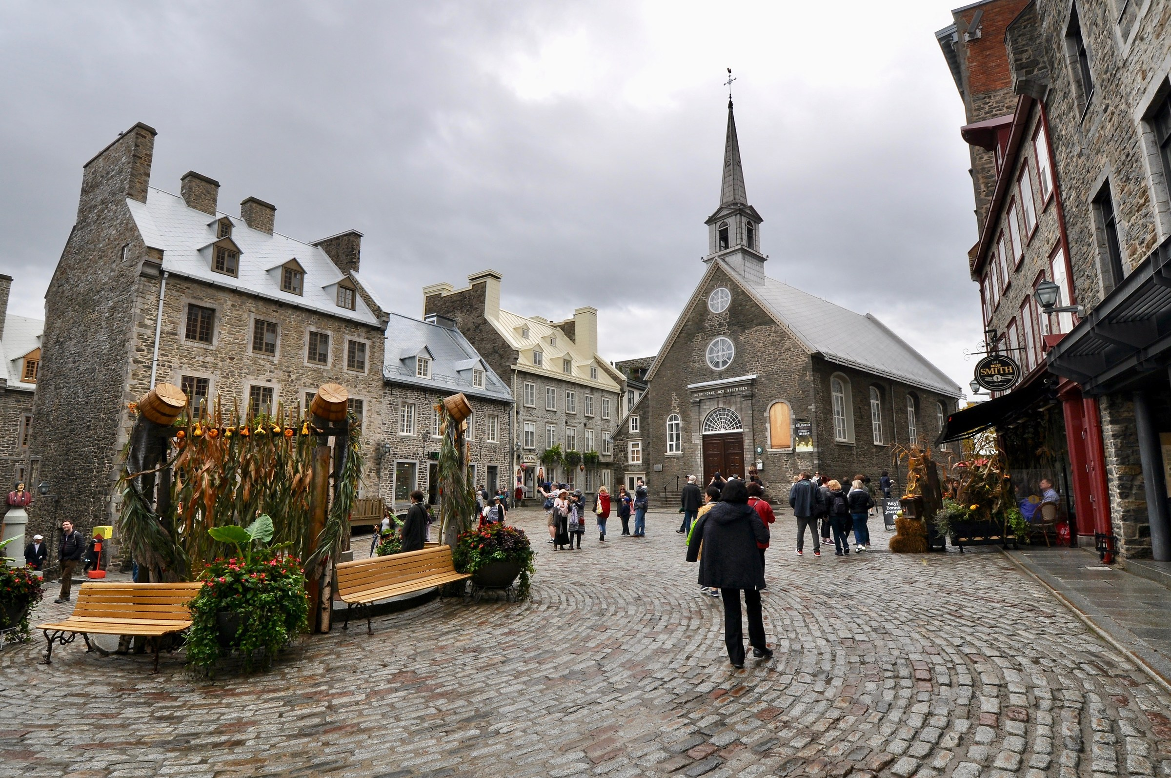 In the rain, Place Royale in Quebec City......