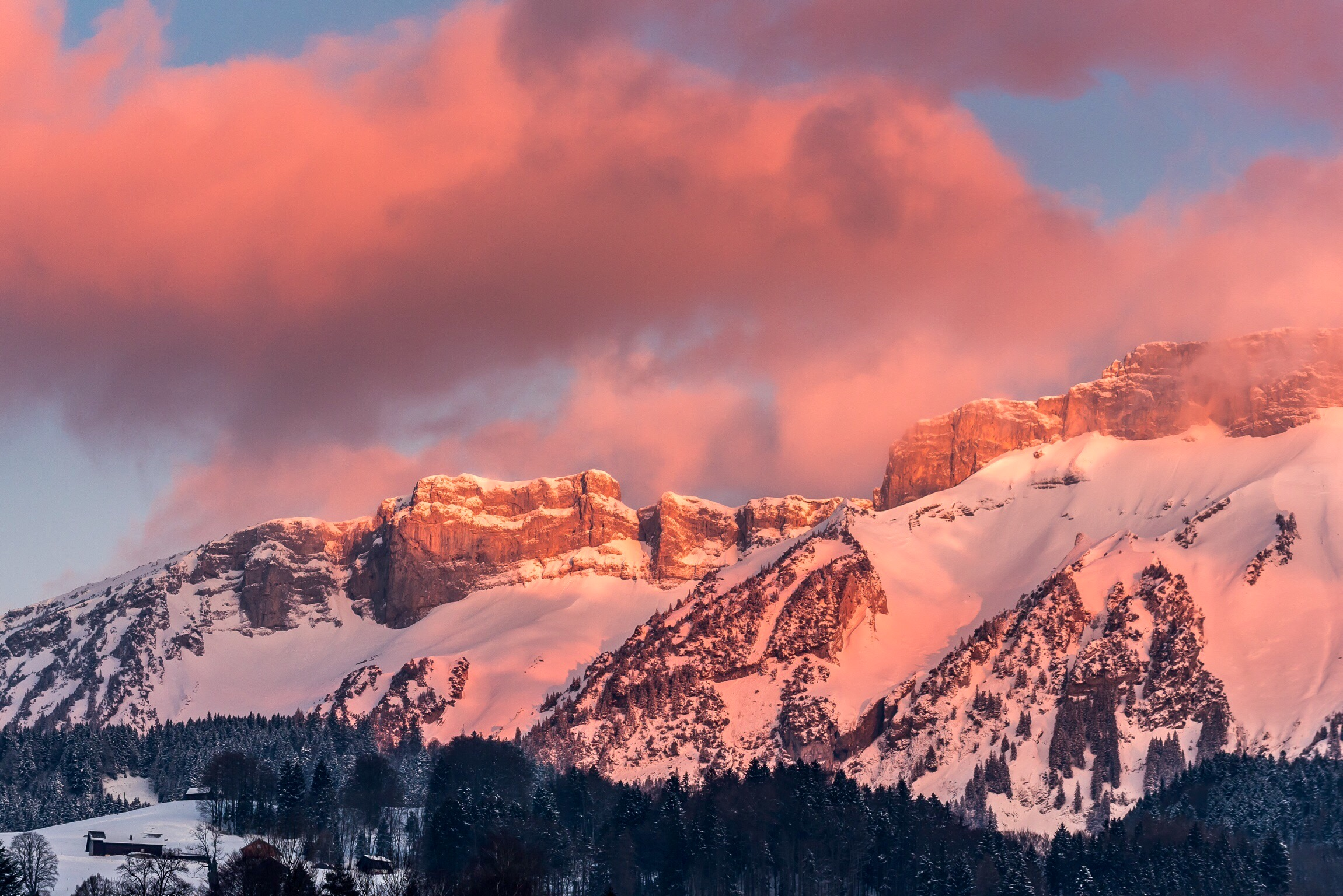 Spectacular sunrise after the snowfall...