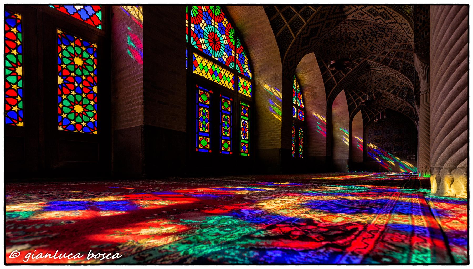 The interior of Nasir-al-Molk Mosque in Shiraz...