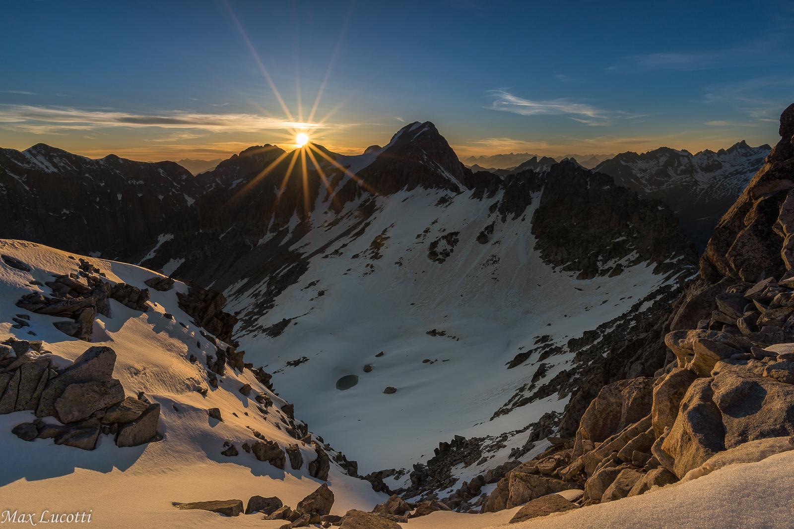 Sunset between peaks...