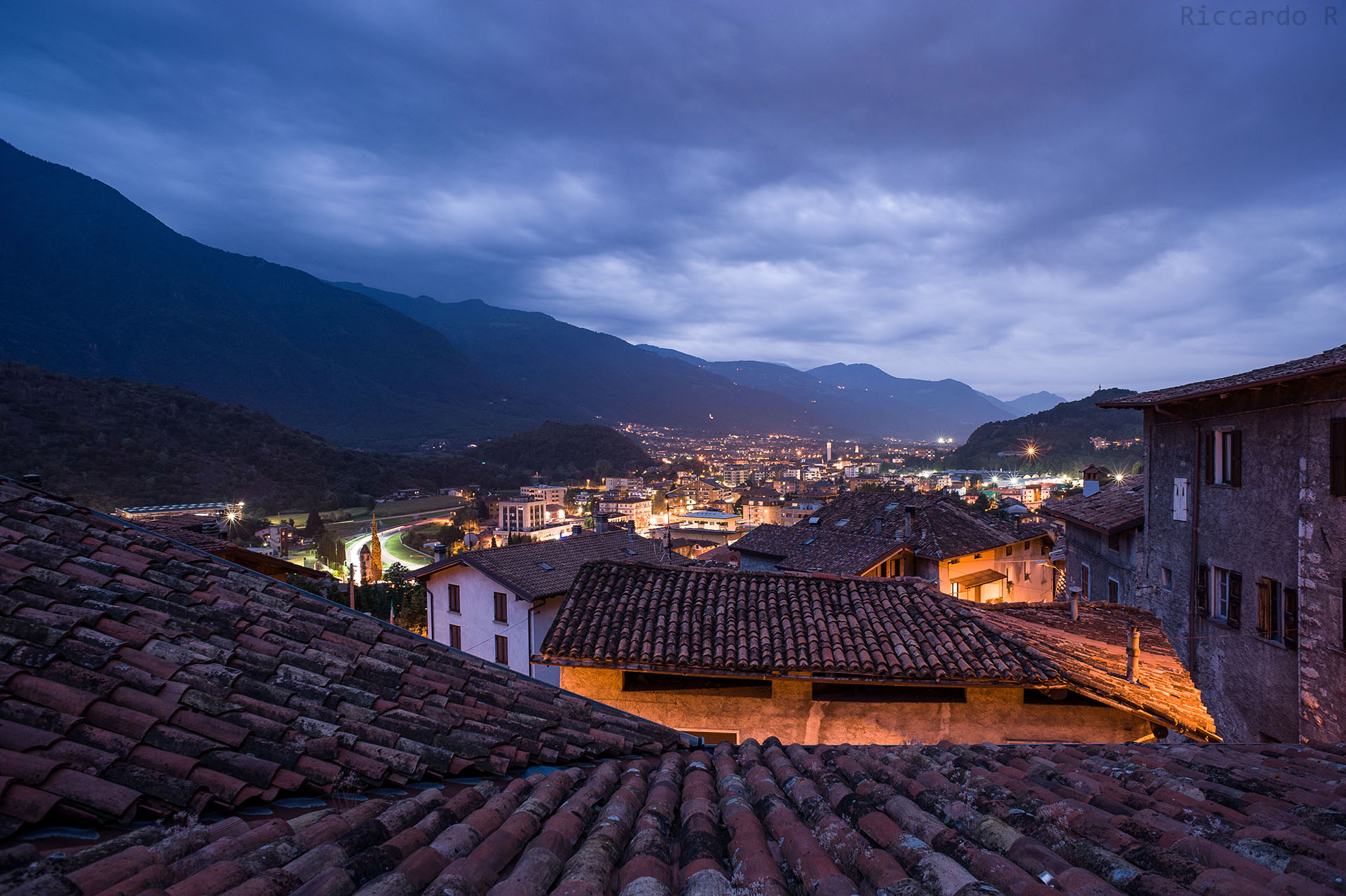 blue hour in Darfo Boario T., roof view [Valcamonica]...