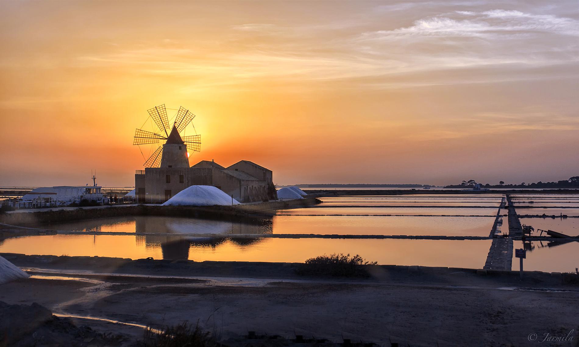 Sunset on the Lagoon of Marsala Saline...