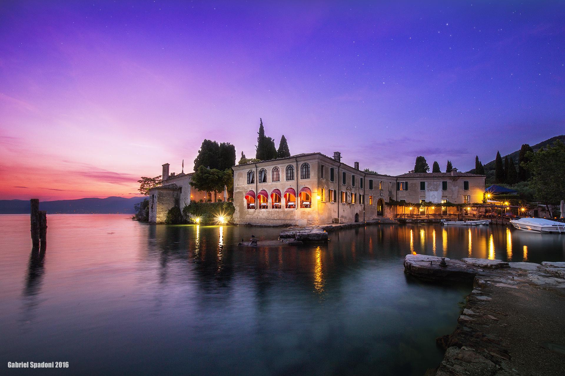 The villa on the lake at sunset...