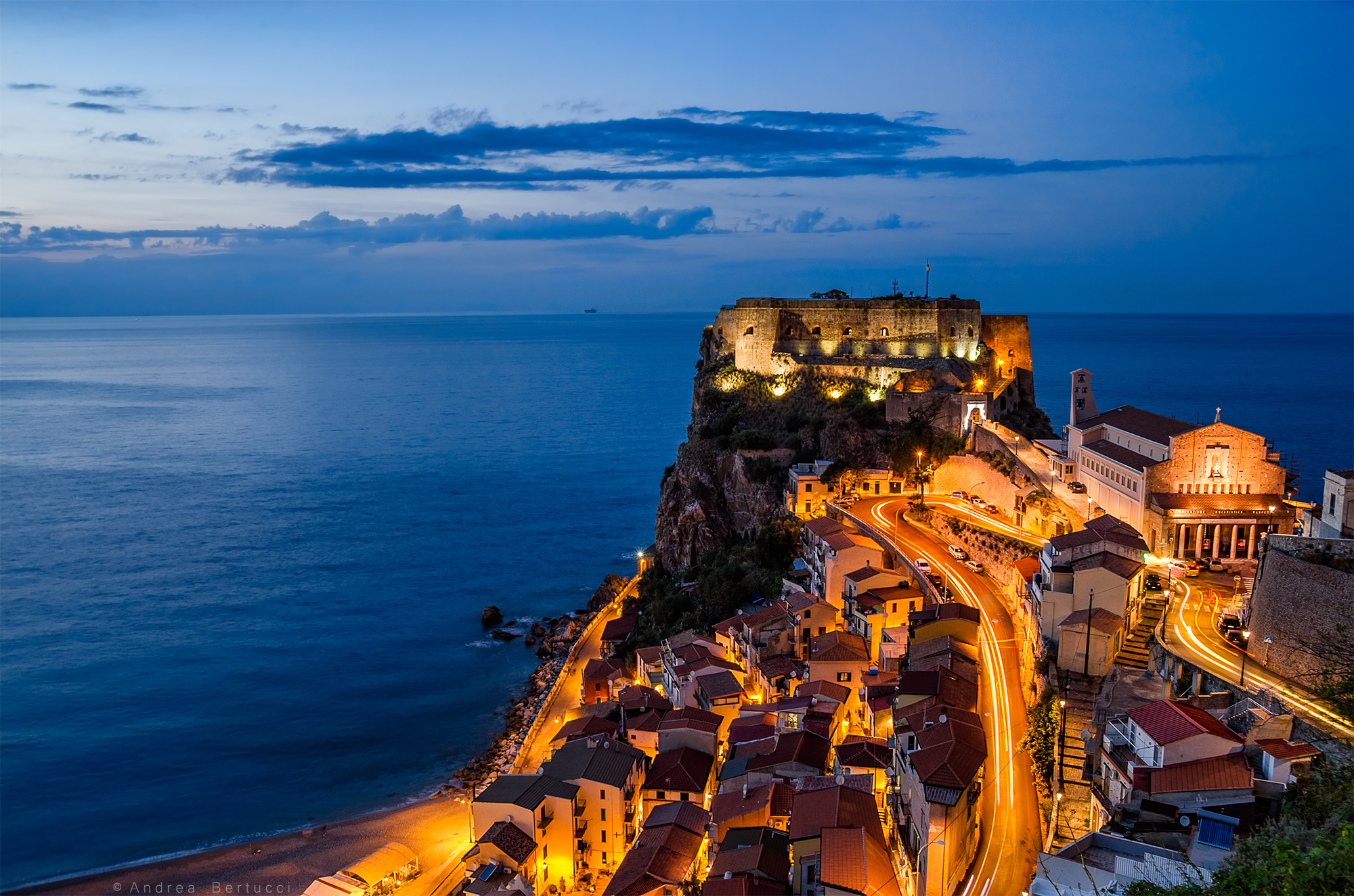 Scilla and the Ruffo Castle after the sunset...