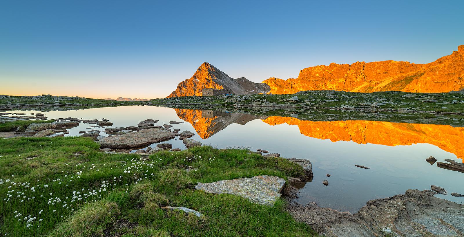 Monte Chersogno and Lake Camoscere dawn...