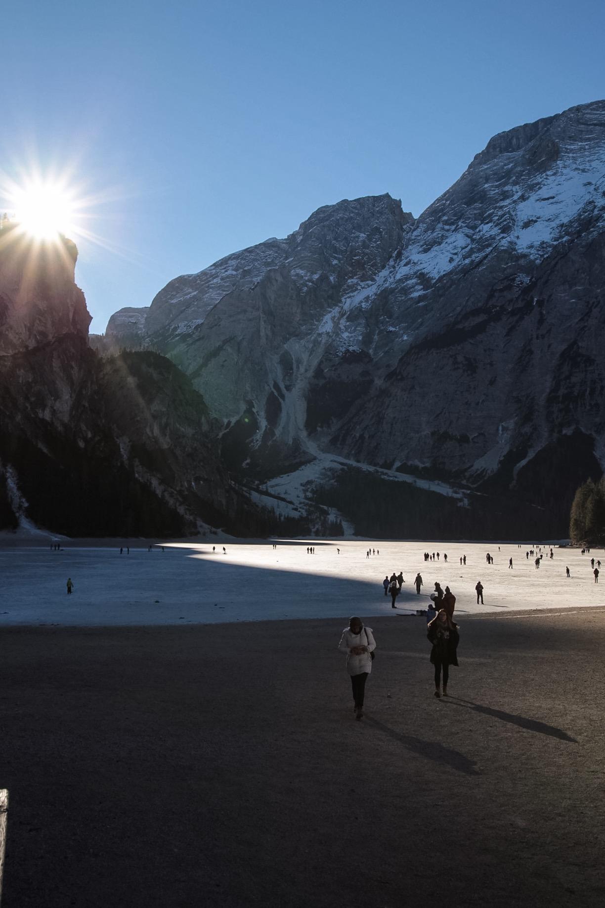 Sunrise on Braies walking frozen...
