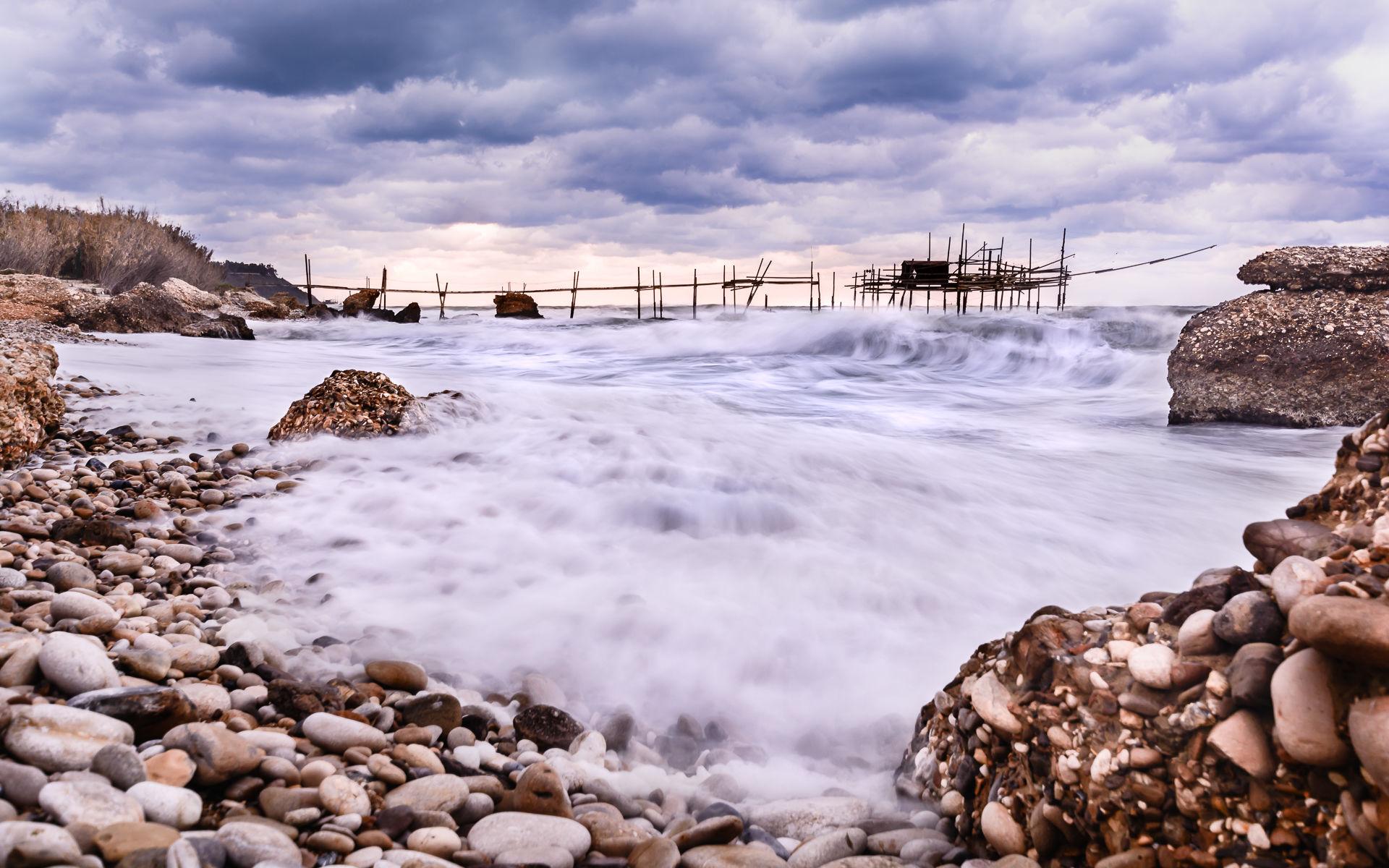 Among the rocks and waves...