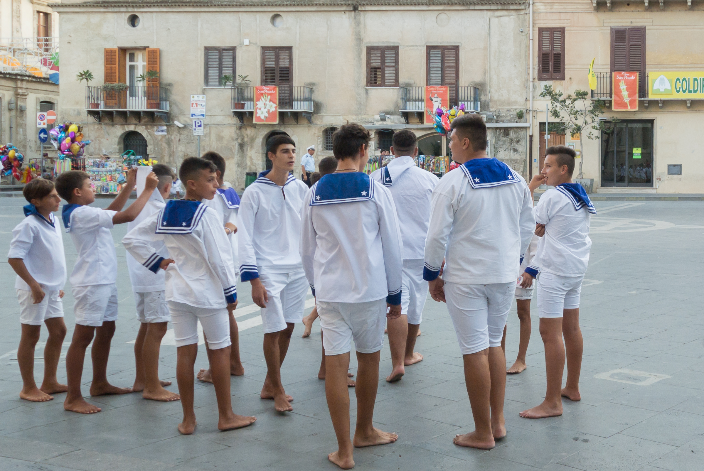 Kids as a devout sailors in Sant'Angelo...